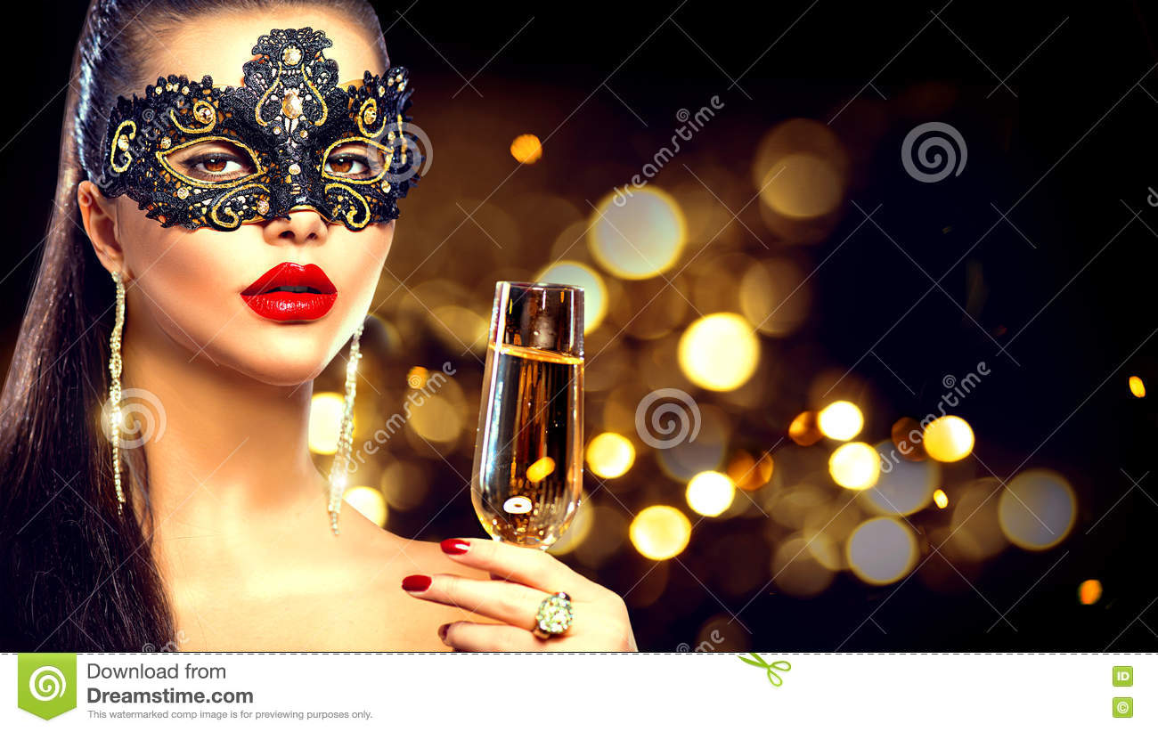 model woman wearing venetian masquerade mask