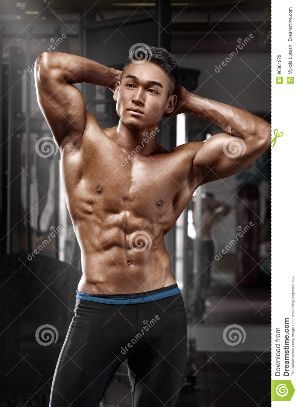 Muscular Man Posing In Gym, Shaped Abdominal. Strong Male