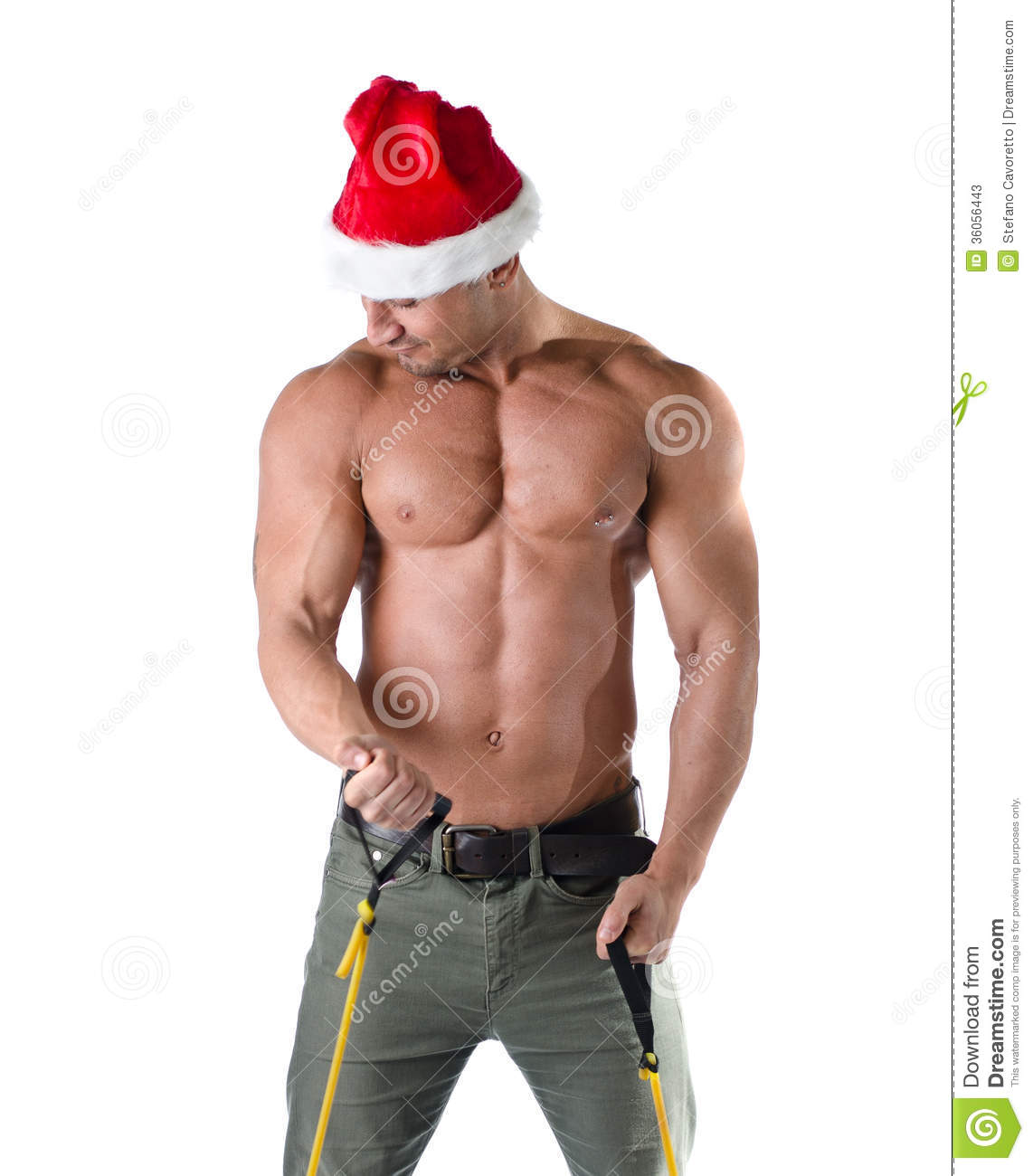 muscular santa claus working out stock image image 36056443