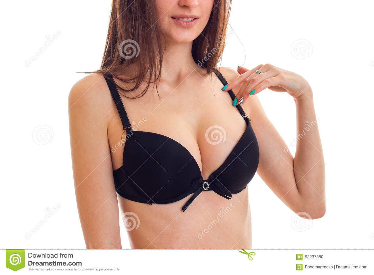 Natural Breasts Of A Young Girl In Black Bra Close Up