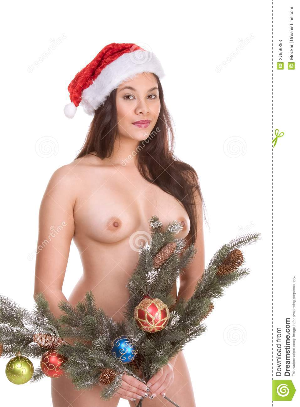 Nude Asian Woman Branches Of Christmas Tree Stock Image - Image of ...