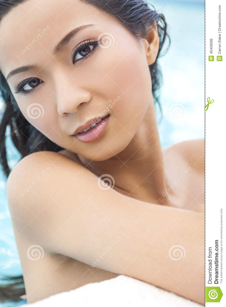 Nude Chinese Woman Girl In Swimming Pool Stock Photo -3419