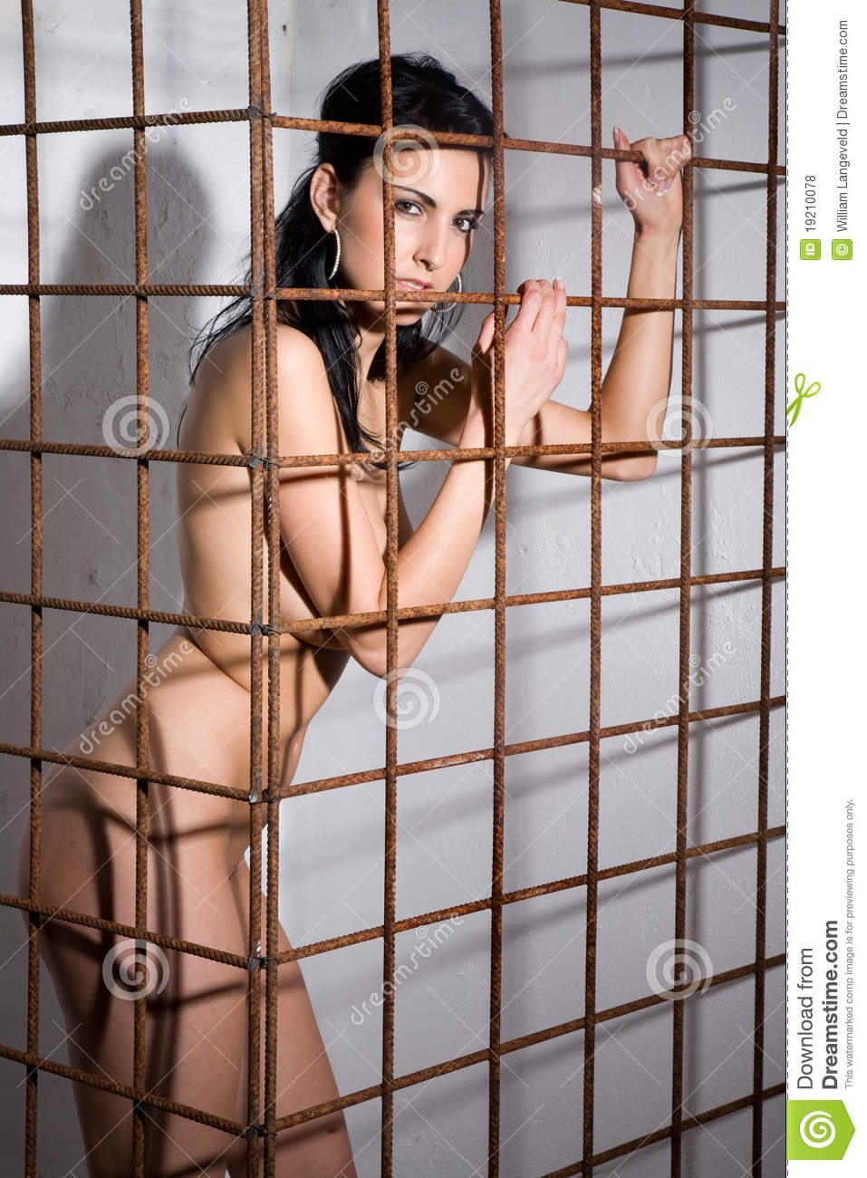 woman naked in cages