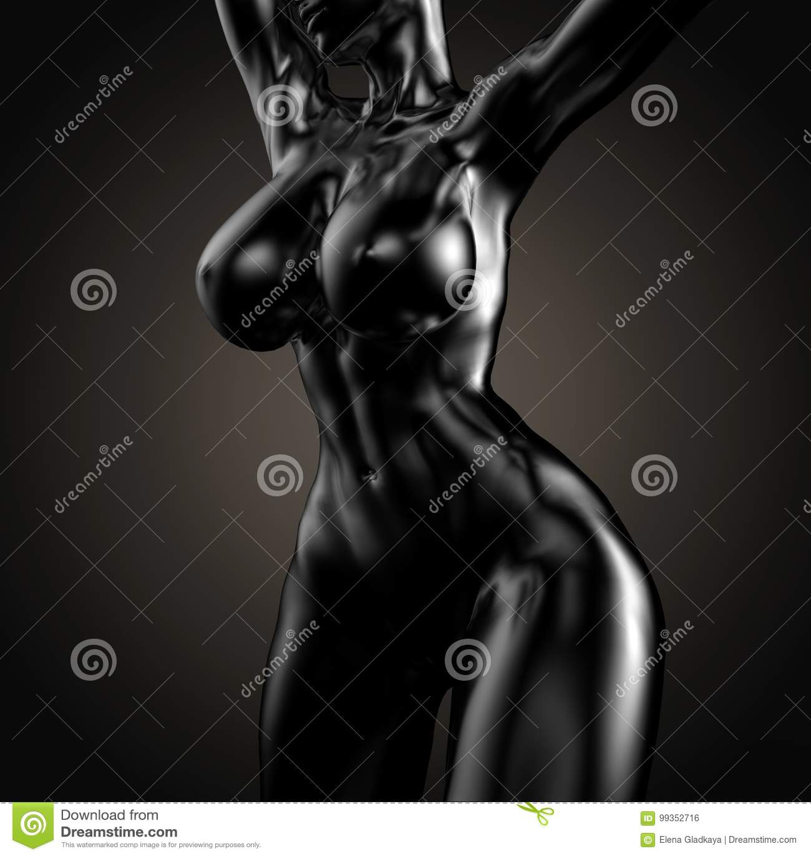 3D Illustration Of Nude Woman Body Stock Illustration