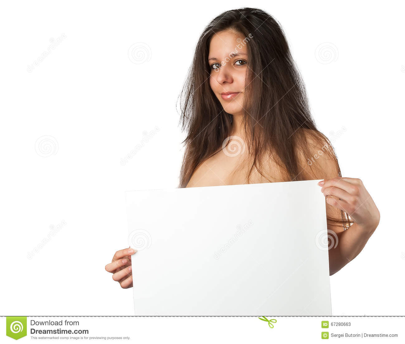 Nude woman holding blank banner stock image image of beautiful royalty free stock photo kristyandbryce Images