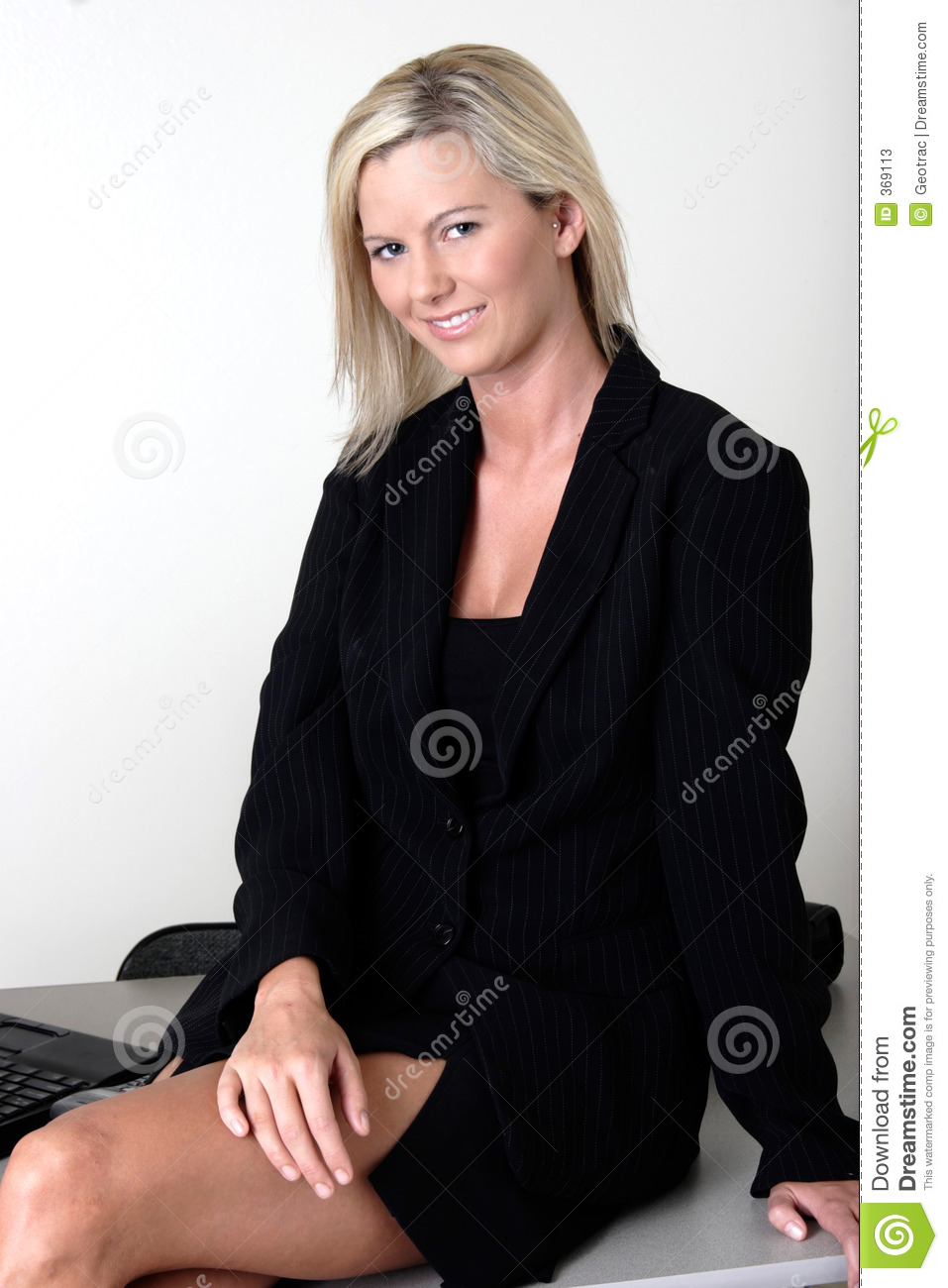 Sexy Office Lady Sitting On Her Desk Stock Photos Image