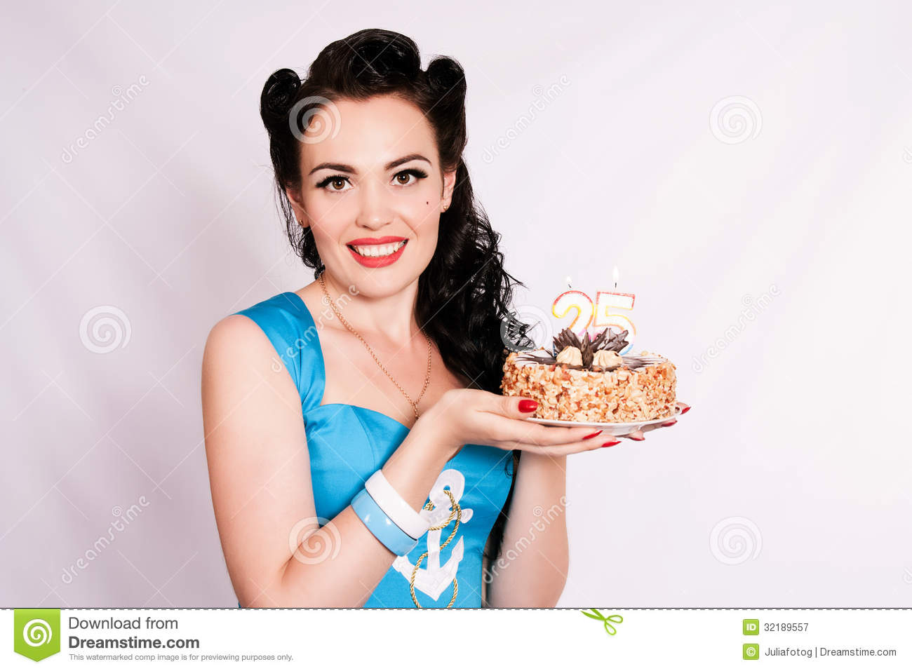 Awe Inspiring Pin Up Girl With A Birthday Cake Twenty Five Years Stock Image Funny Birthday Cards Online Sheoxdamsfinfo
