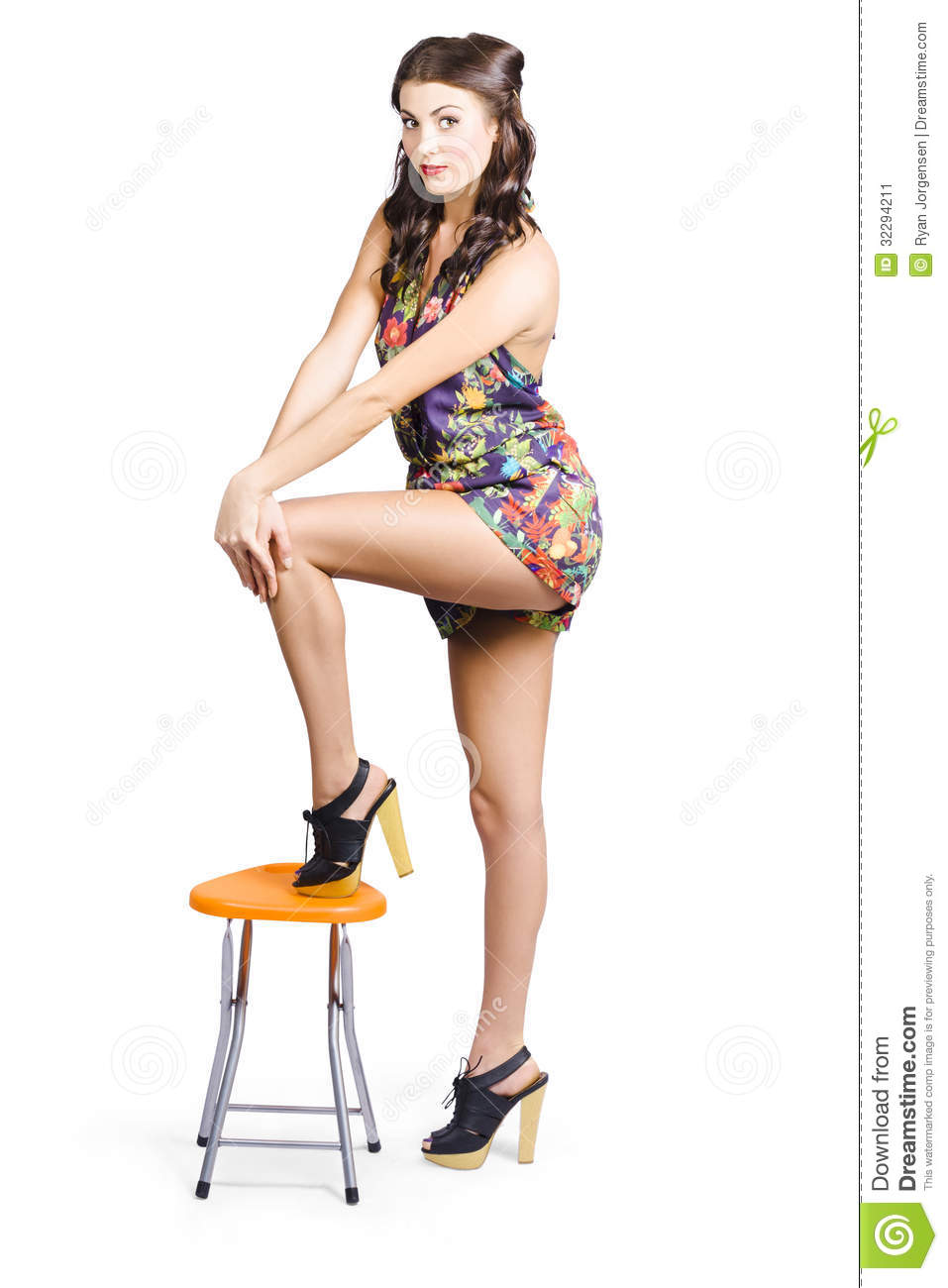 Stock Image Sexy Pin Up Model Posing Stylish Retro Fashion Long Silky ...