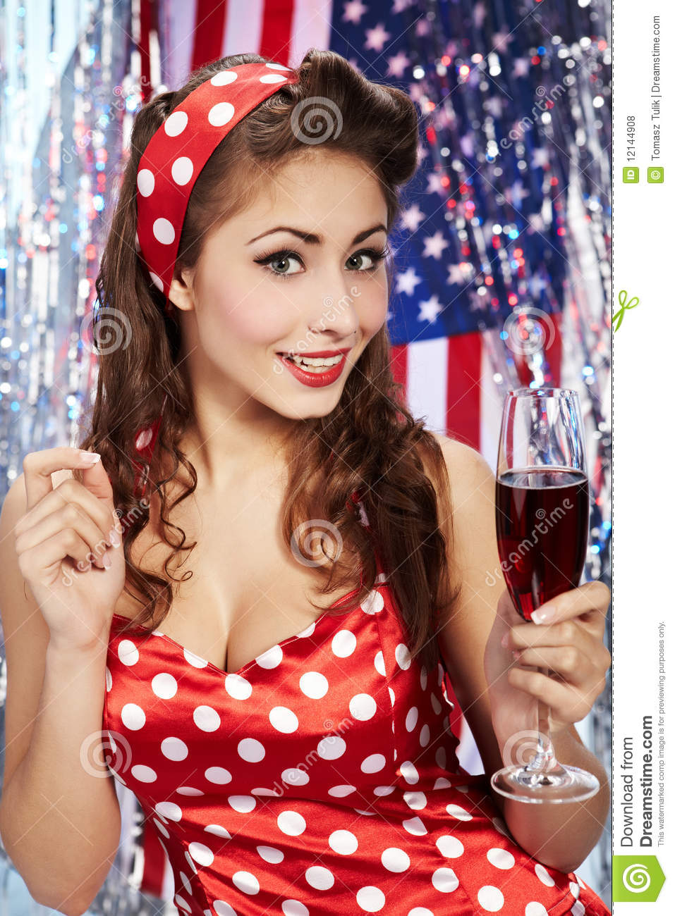 Pin Up Woman With Champagne Royalty Free Stock Photos