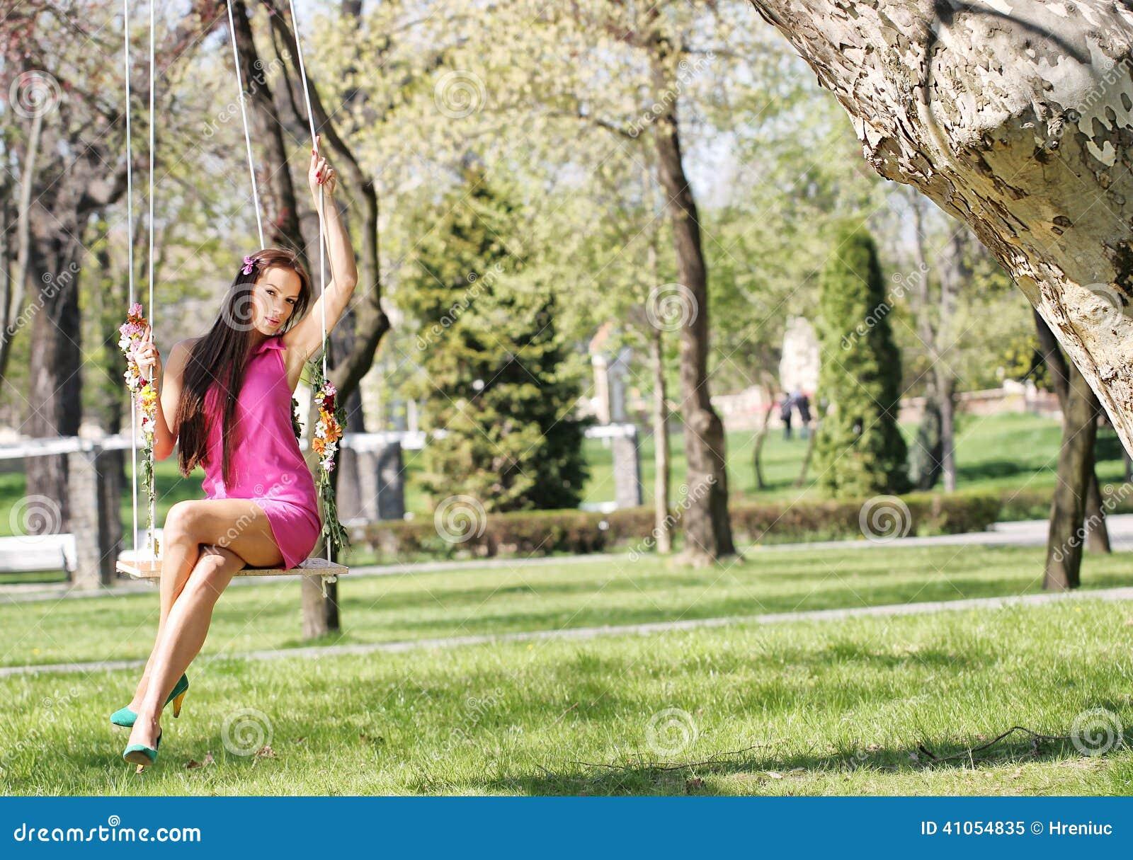 Pink Purple Dress Lady On A Swing Stock Photo Image