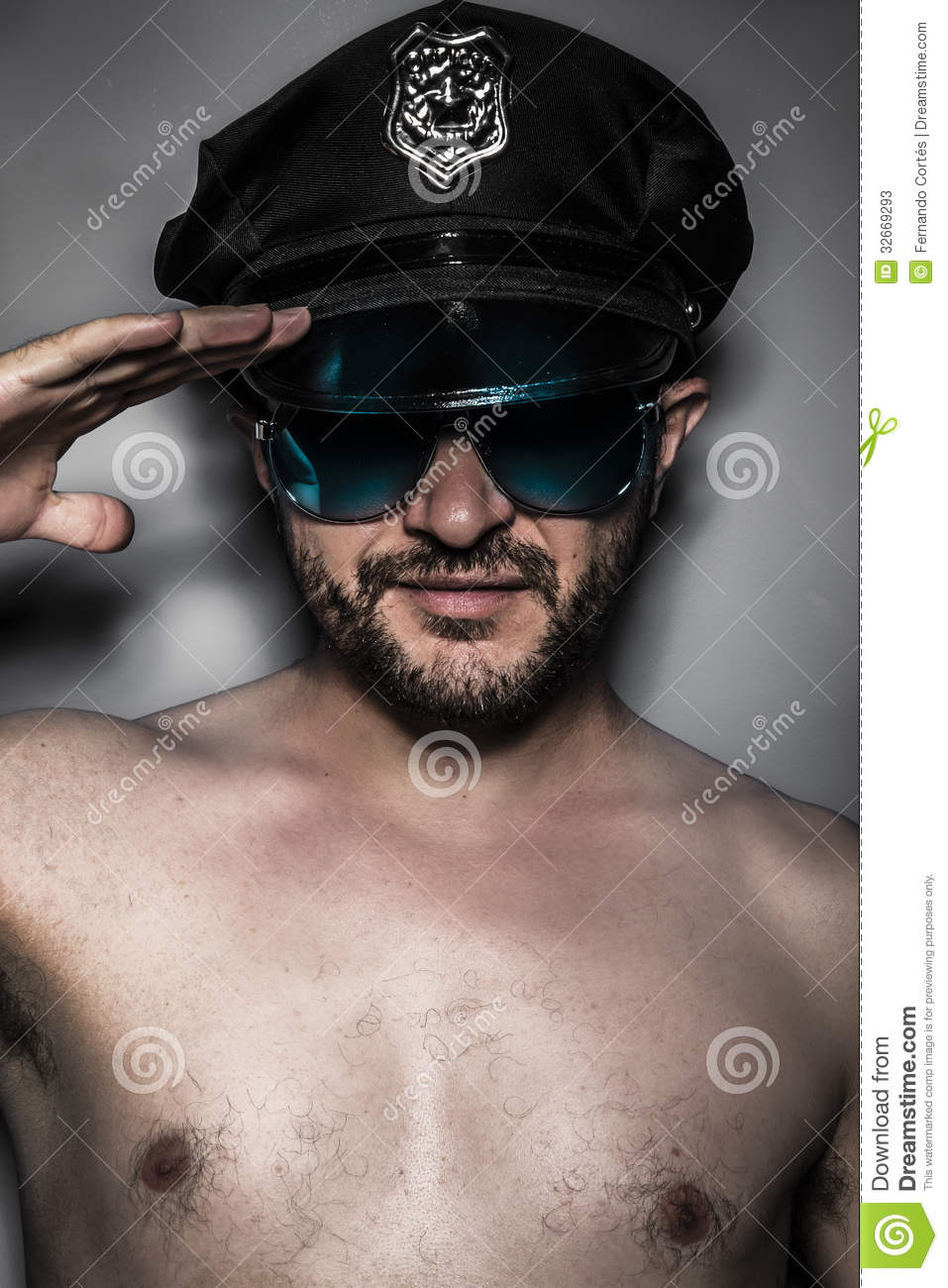 Police, Naked Man With Cap And Glasses, Saluting Stock -1356