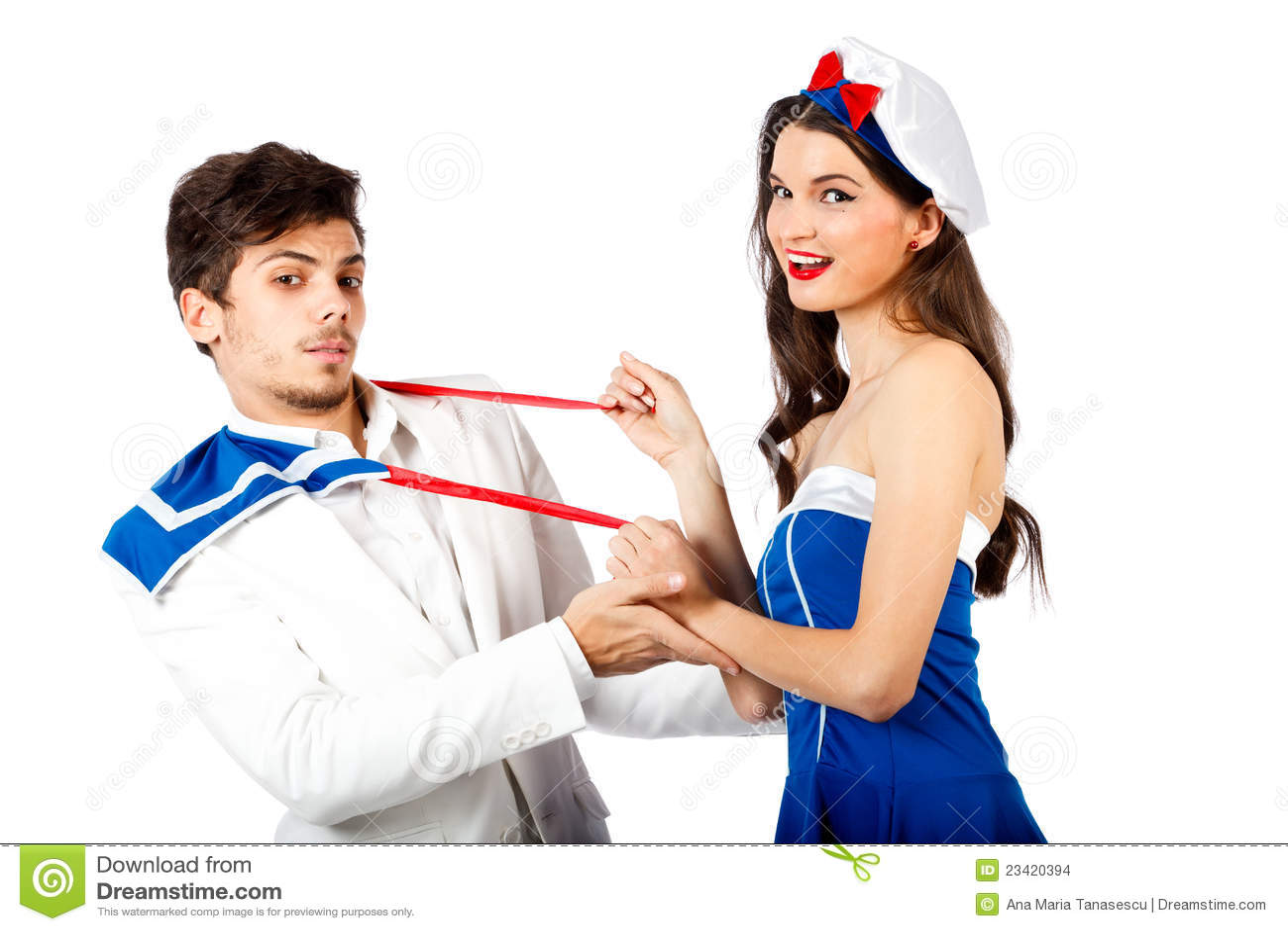 Sailor Woman Seducing Elegant Young Man Stock Images -7863