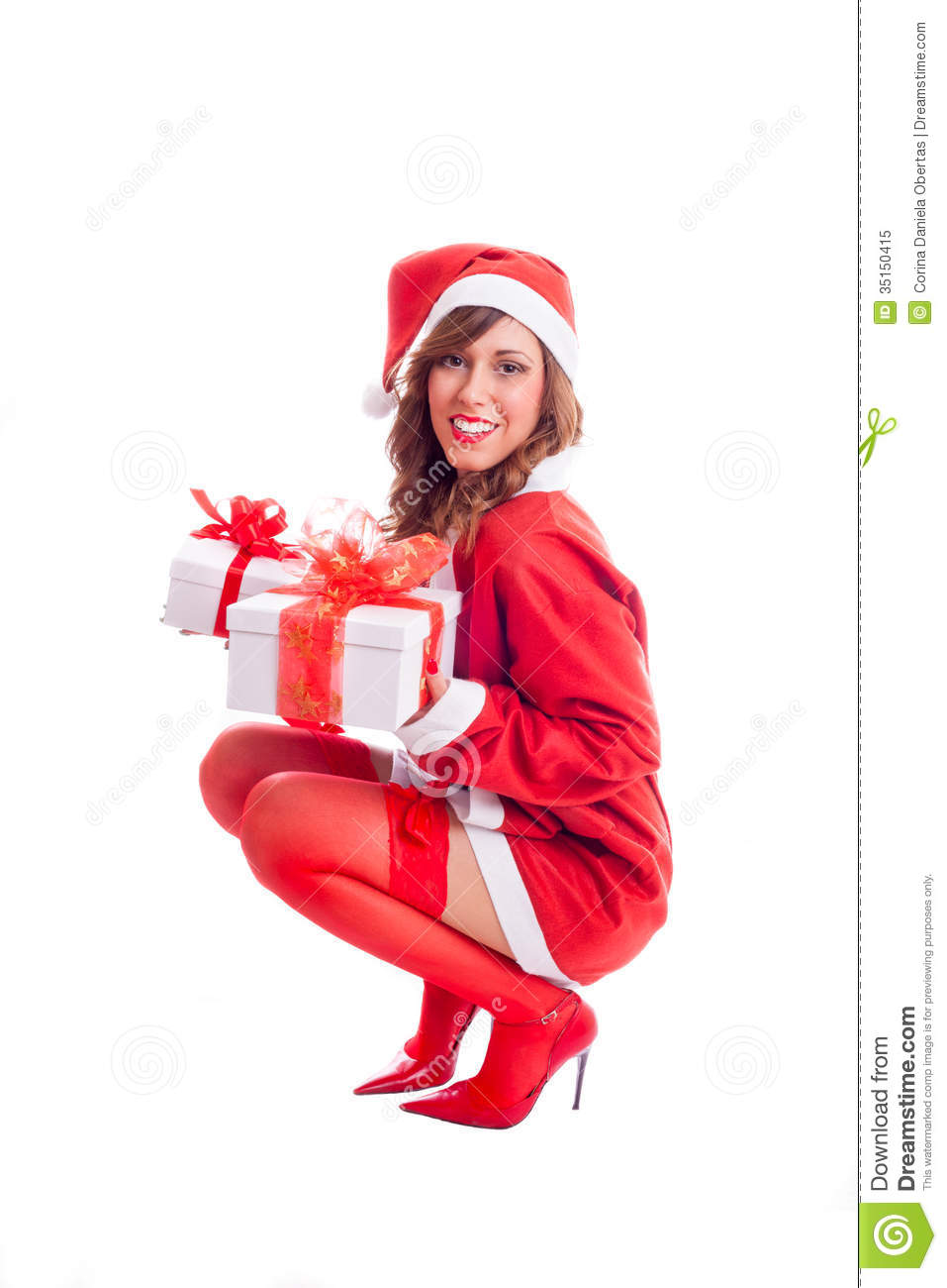 Santa Baby Holding Presents Stock Image - Image Of Santa -3947