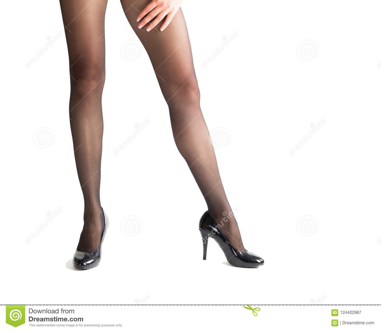 a535c544602 Slim Female Legs In Classic Black Shoes And Black Tights