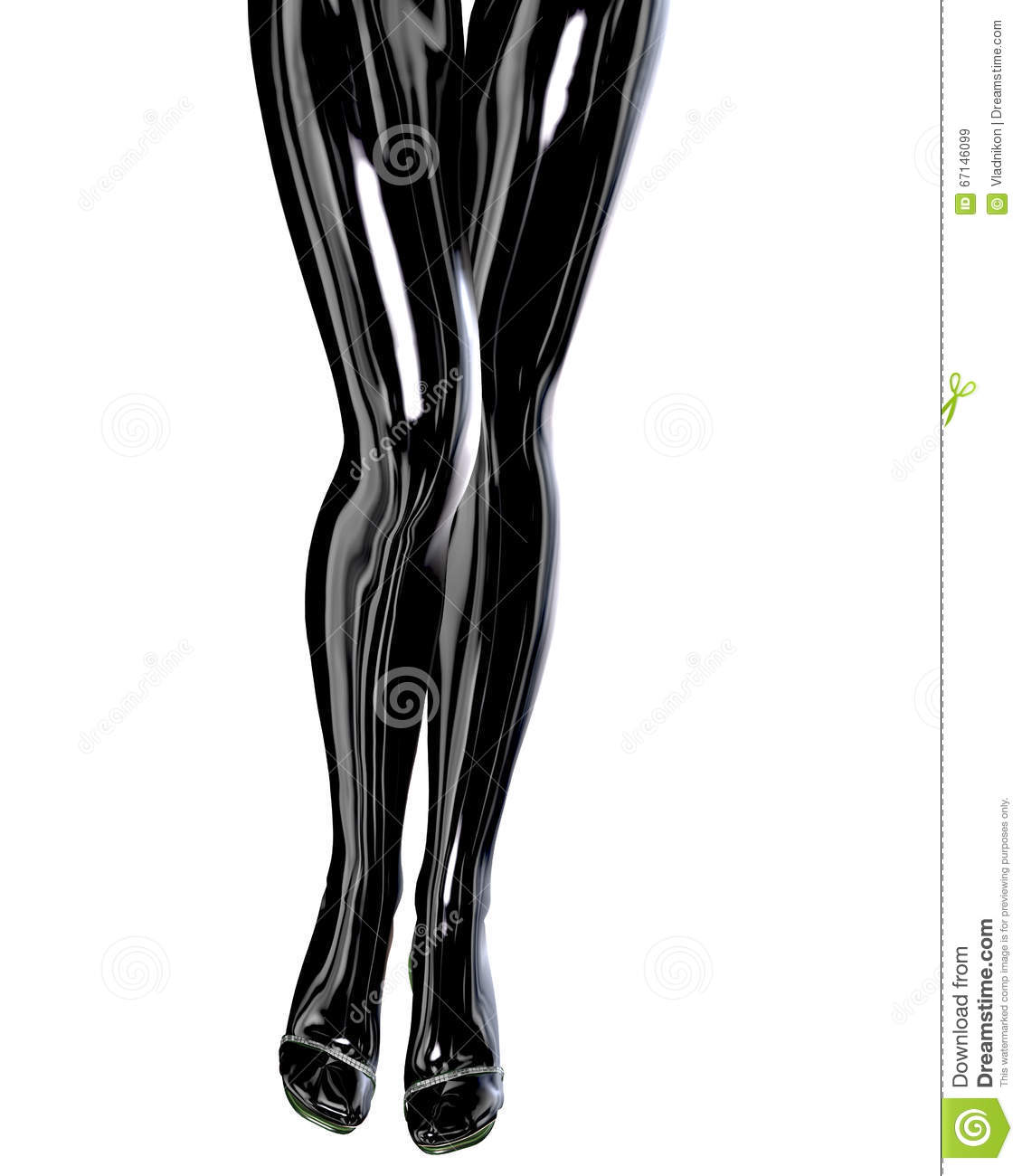 9defd611257 Slim Female Legs In Latex Pantyhose. Stock Illustration ...