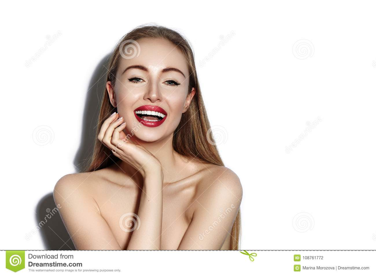 smiling woman with Glamour Red Lips, bright Makeup, clean Skin. Smile with White Teeth. Happy Fashion Girl