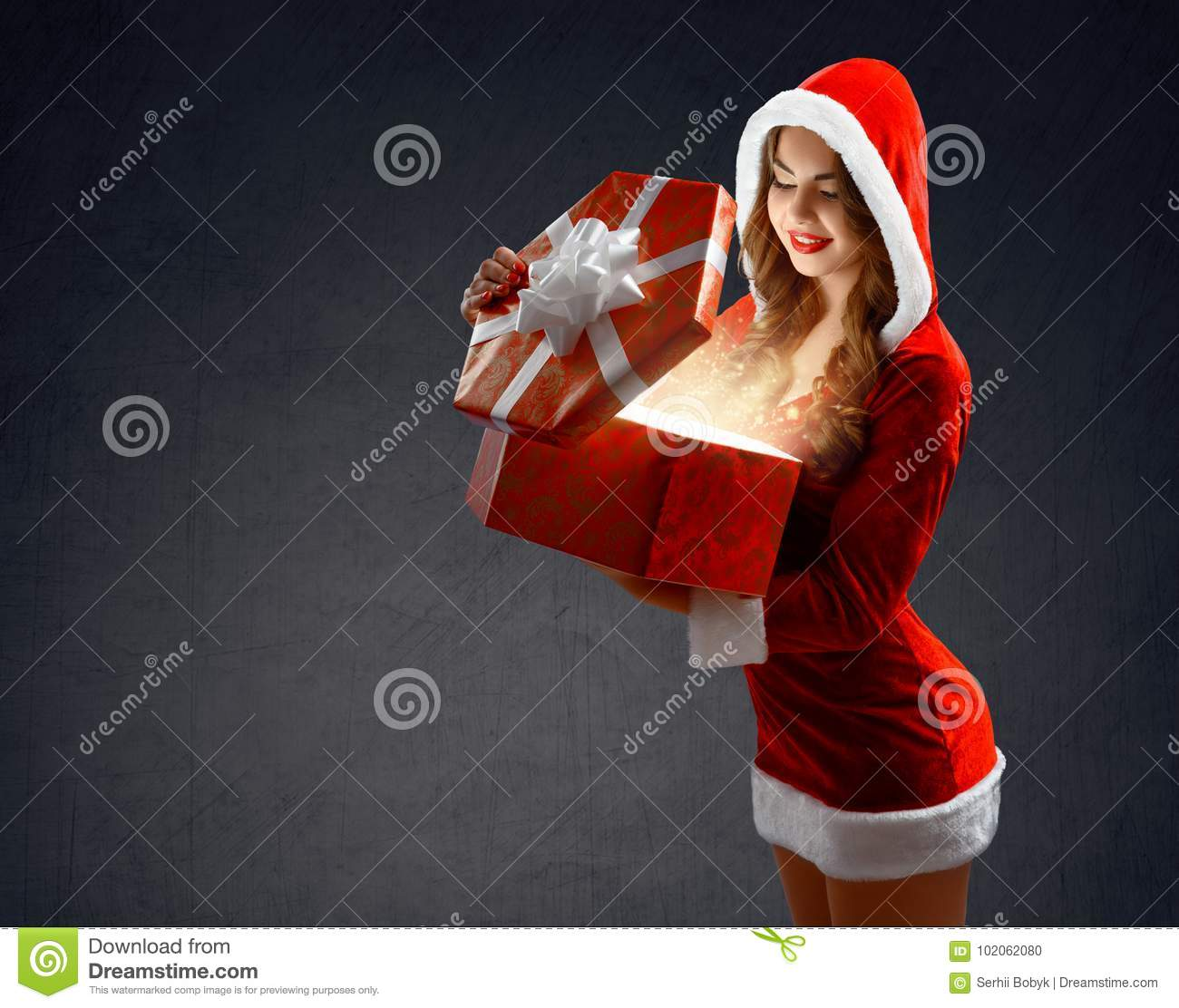 Snow Maiden In Red Suit Holds A Gt For New Tear 2018,2019 Stock ...