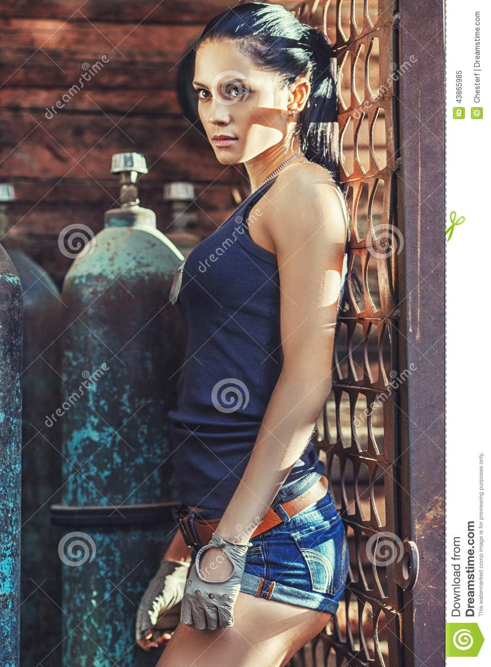 Sexy Soldier Woman On Factory Ruins Stock Photo - Image: 43865985