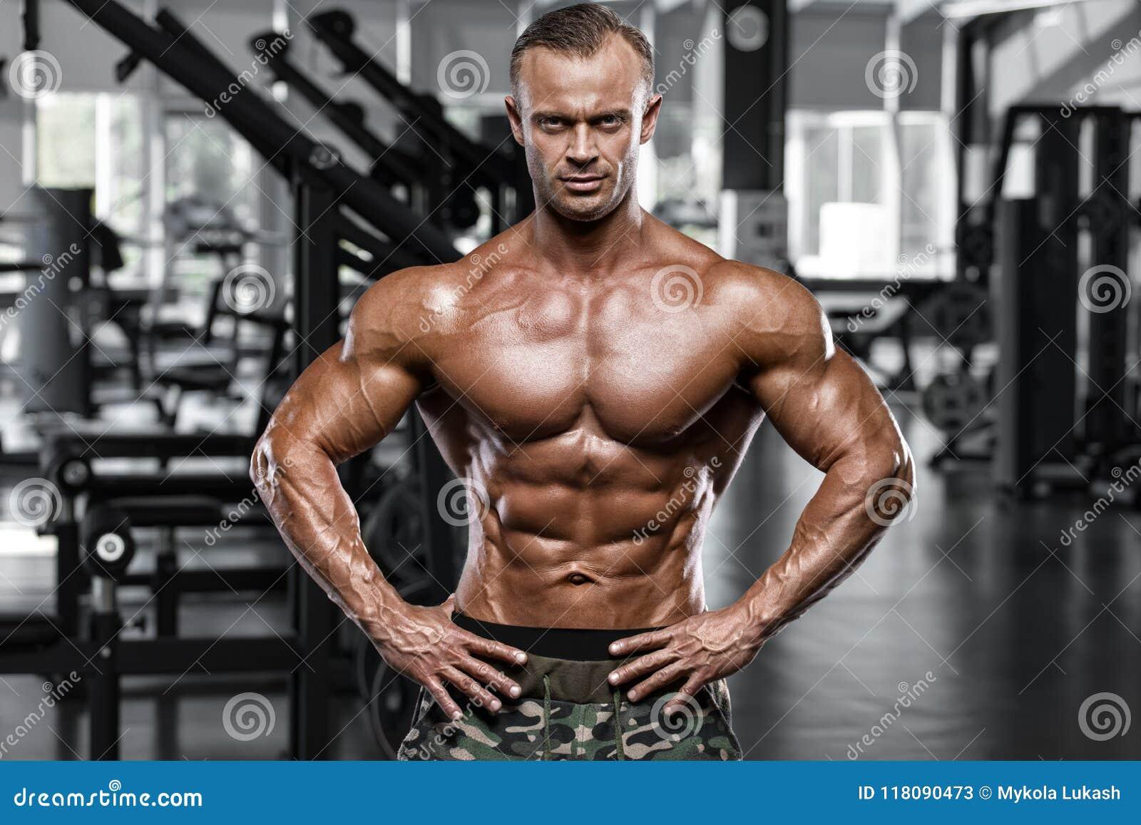 Sexy spiermens in gymnastiek, gevormde buik Sterke mannelijke naakte torsoabs, het uitwerken