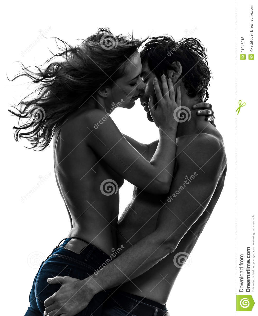 stylish couple lovers topless lovers silhouette