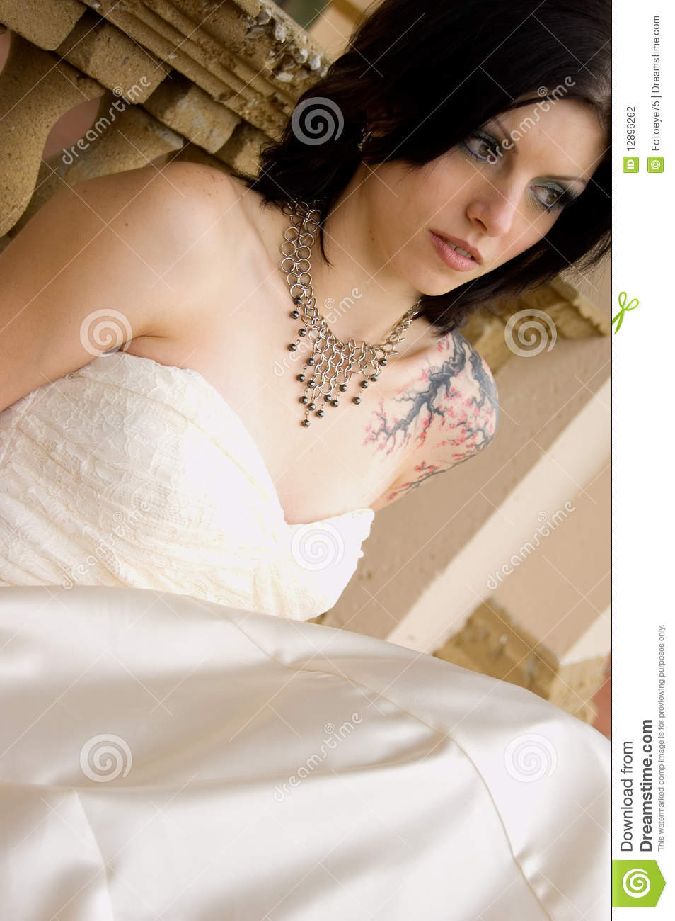 Tattoo Woman In Bridal Dress Stock Photo - Image of bride ...