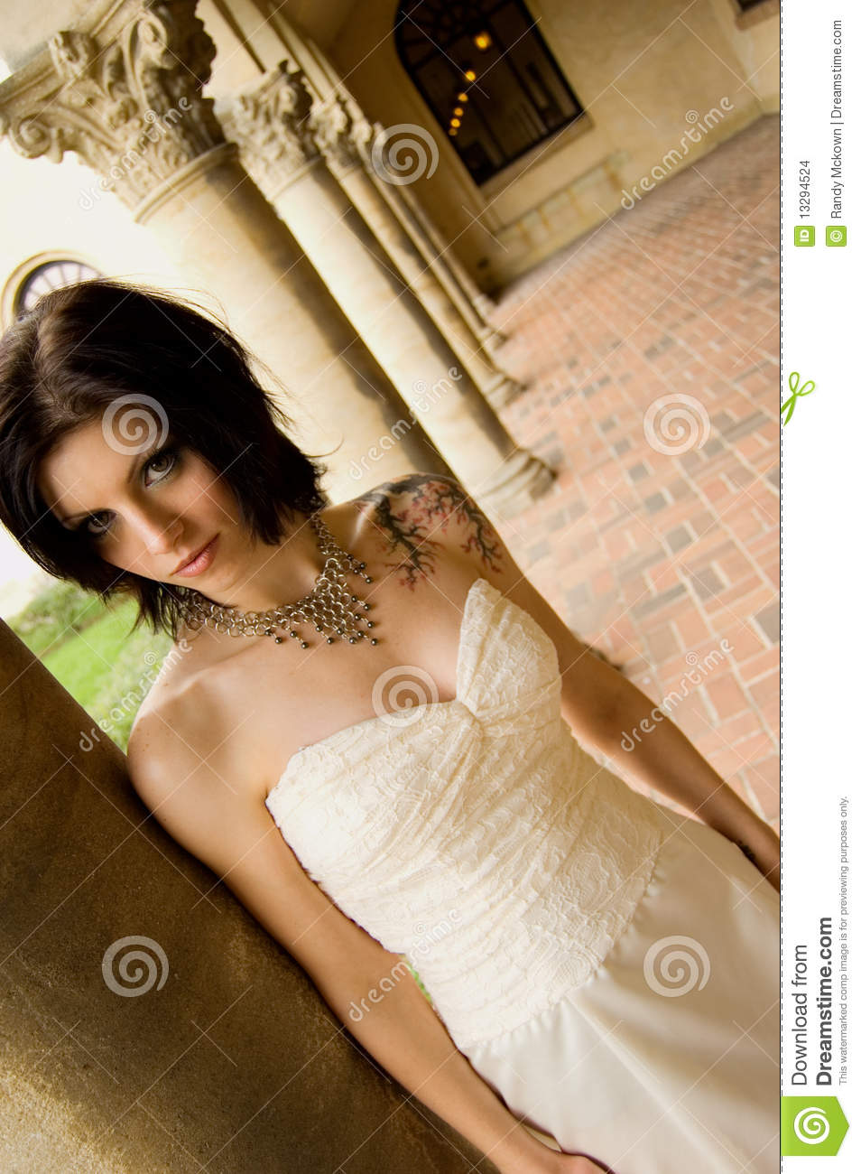 Tattoo Woman In Bridal Dress Stock Photo - Image of brunette, person ...