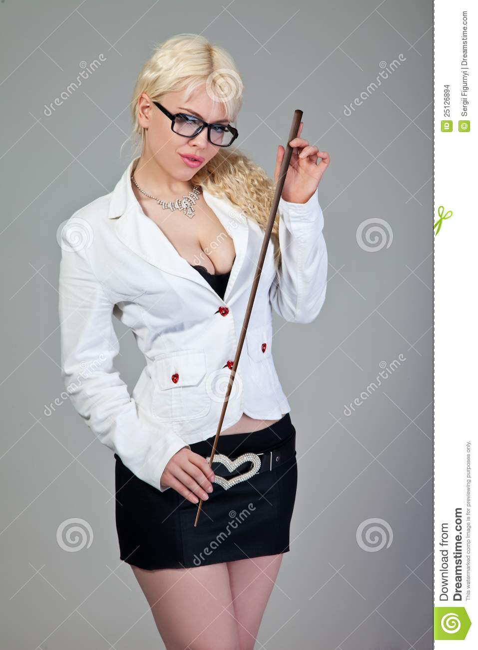 Teacher Is Holding A Pointer On Grey Stock Images - Image 25126894-7294