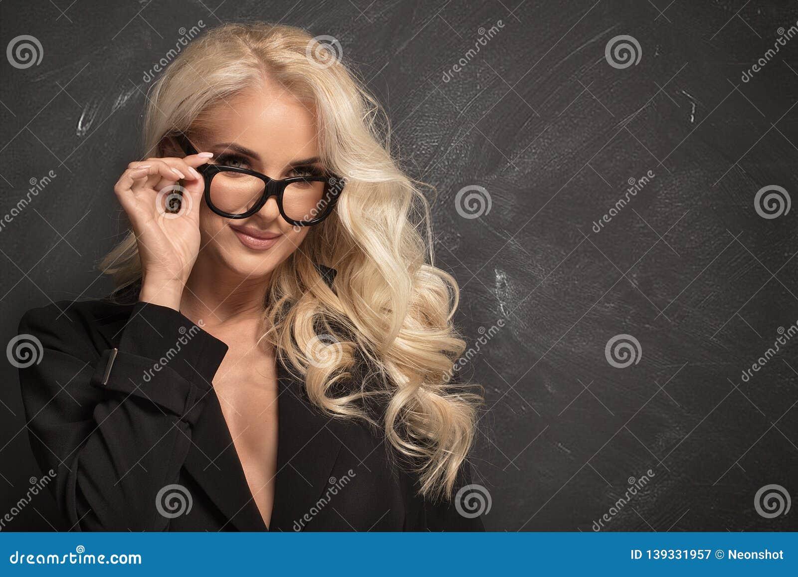 Long hair curly blonde secretary