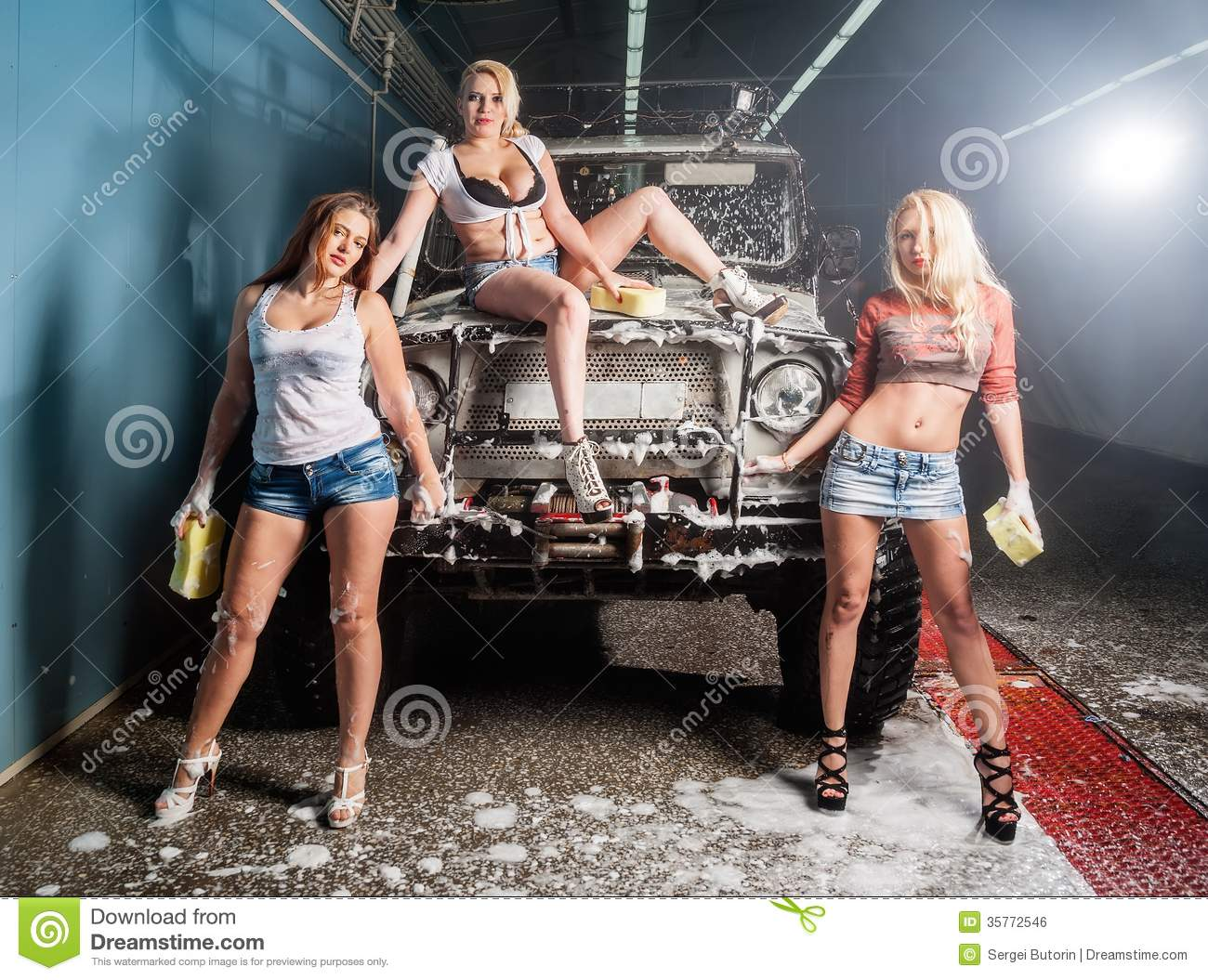 4 girls wash jeep and lick tight cunts - 2 8
