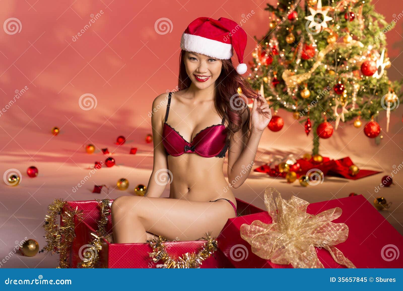sexy weihnachtsgeschenk stockbild bild von m dchen. Black Bedroom Furniture Sets. Home Design Ideas