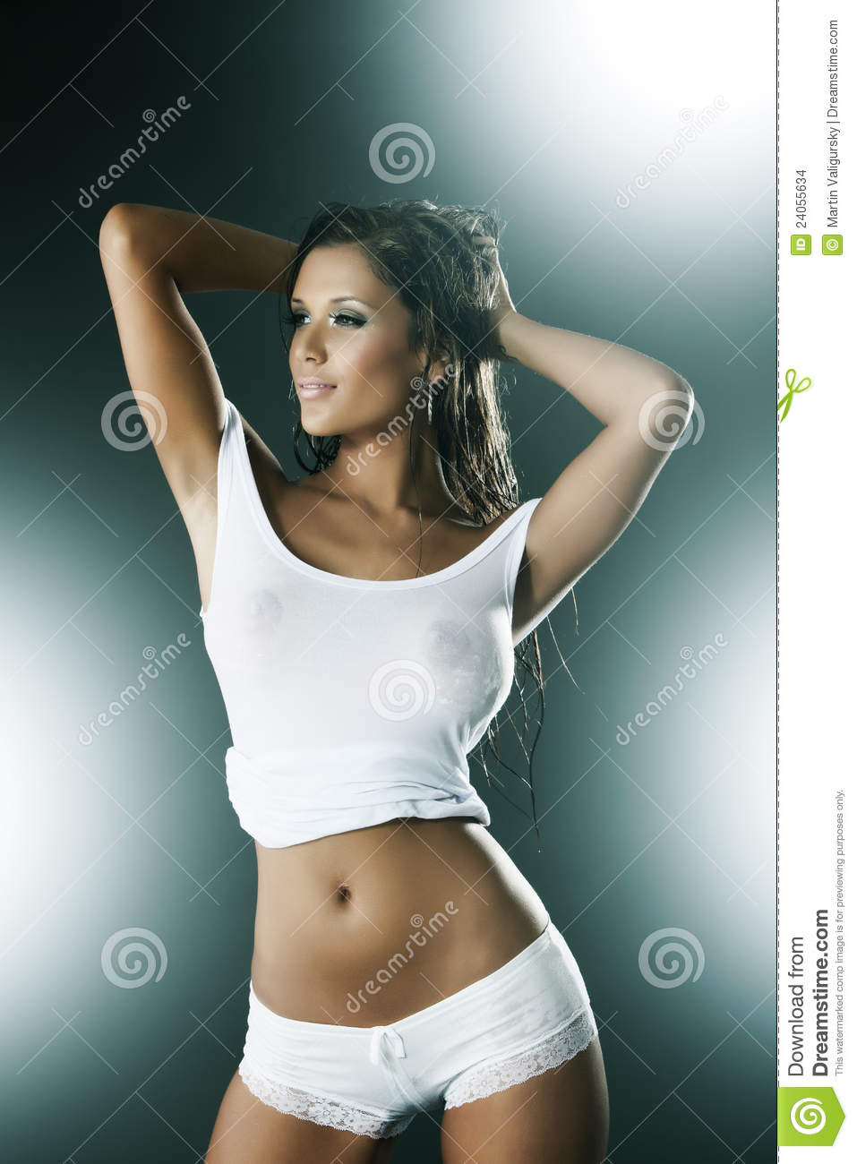 wet woman wearing white tank top and panties stock photo - image of