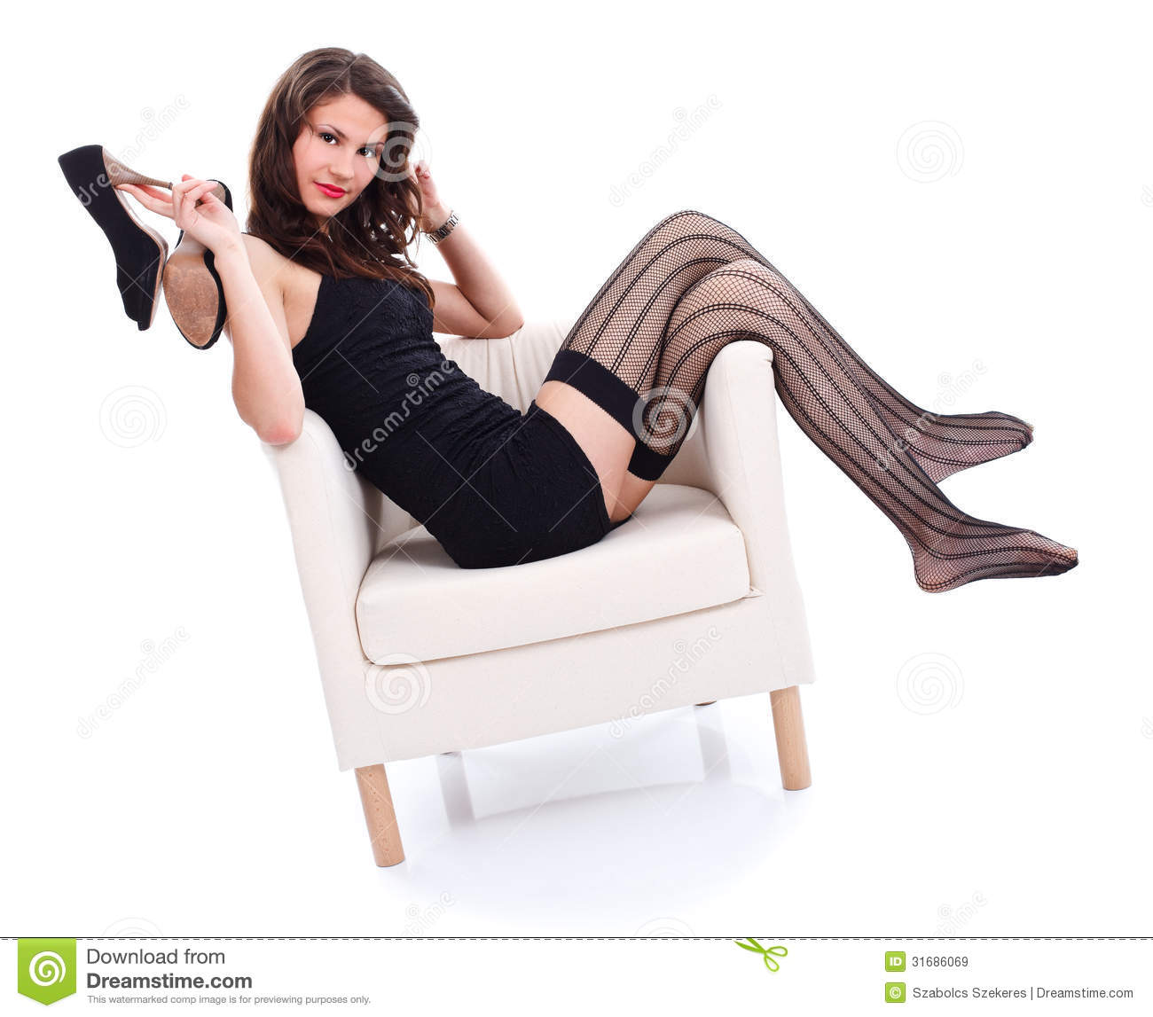 Sexy woman in armchair royalty free stock images image for Sitting in armchair