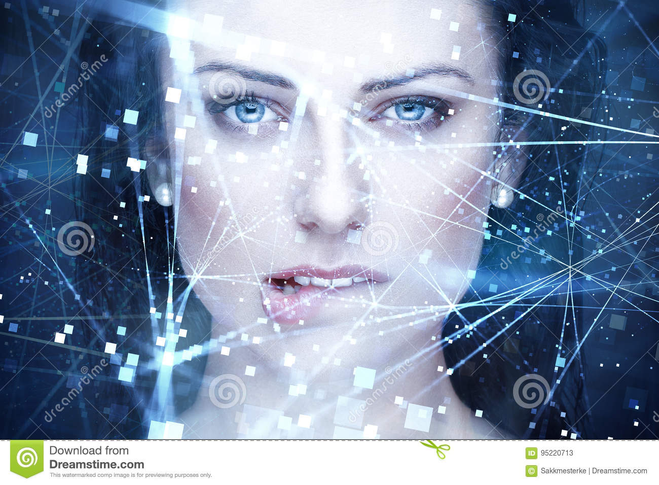 woman artificial intelligence with connections bite lips