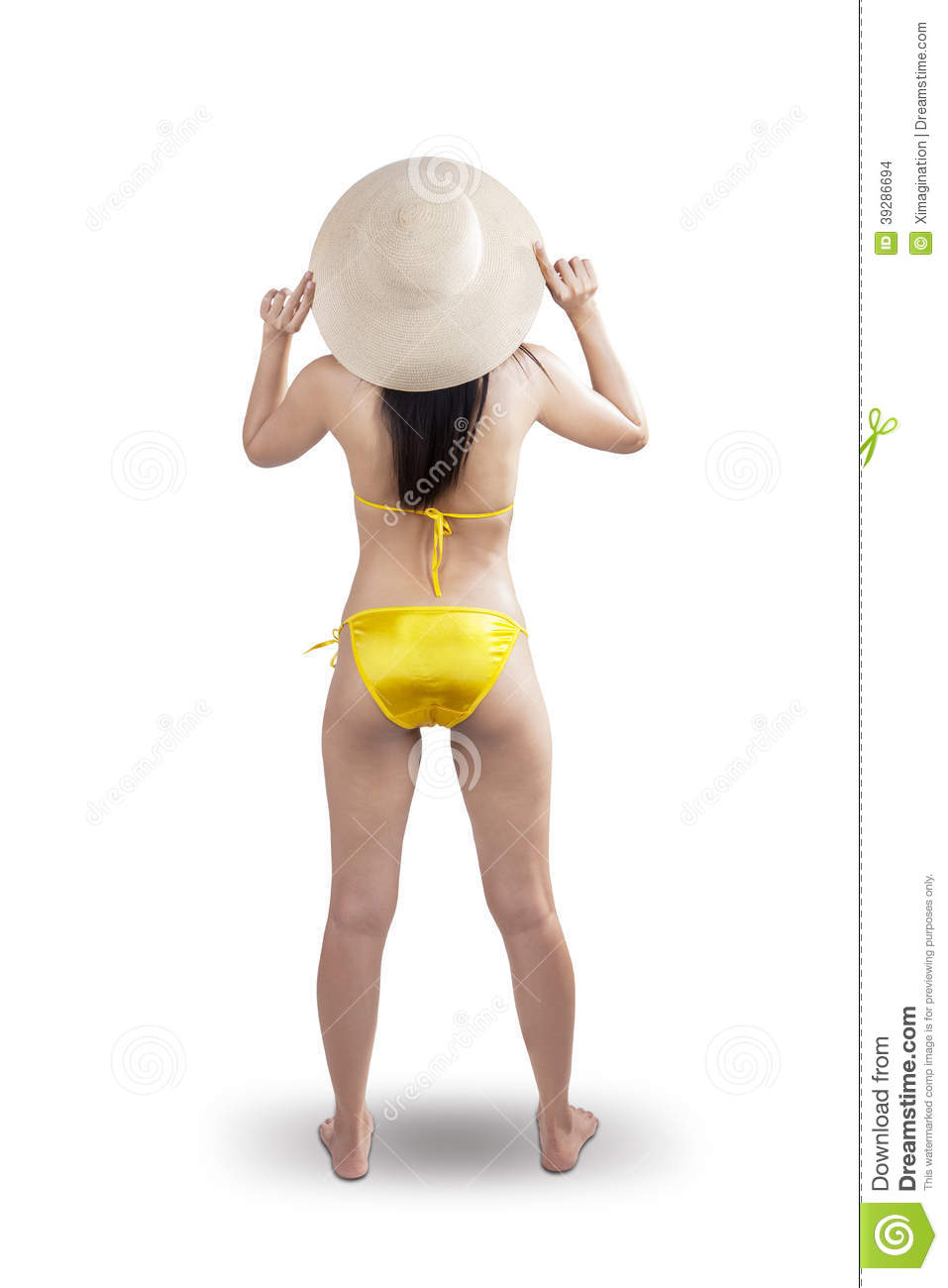 Backside sexy woman standing on white background Woman Standing Side White Background