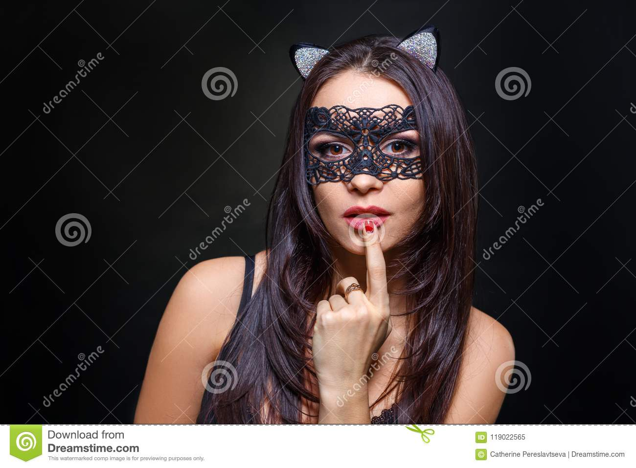 cd3d50b7587 Woman In Black Lingerie And Mask On Black Background Stock Image ...