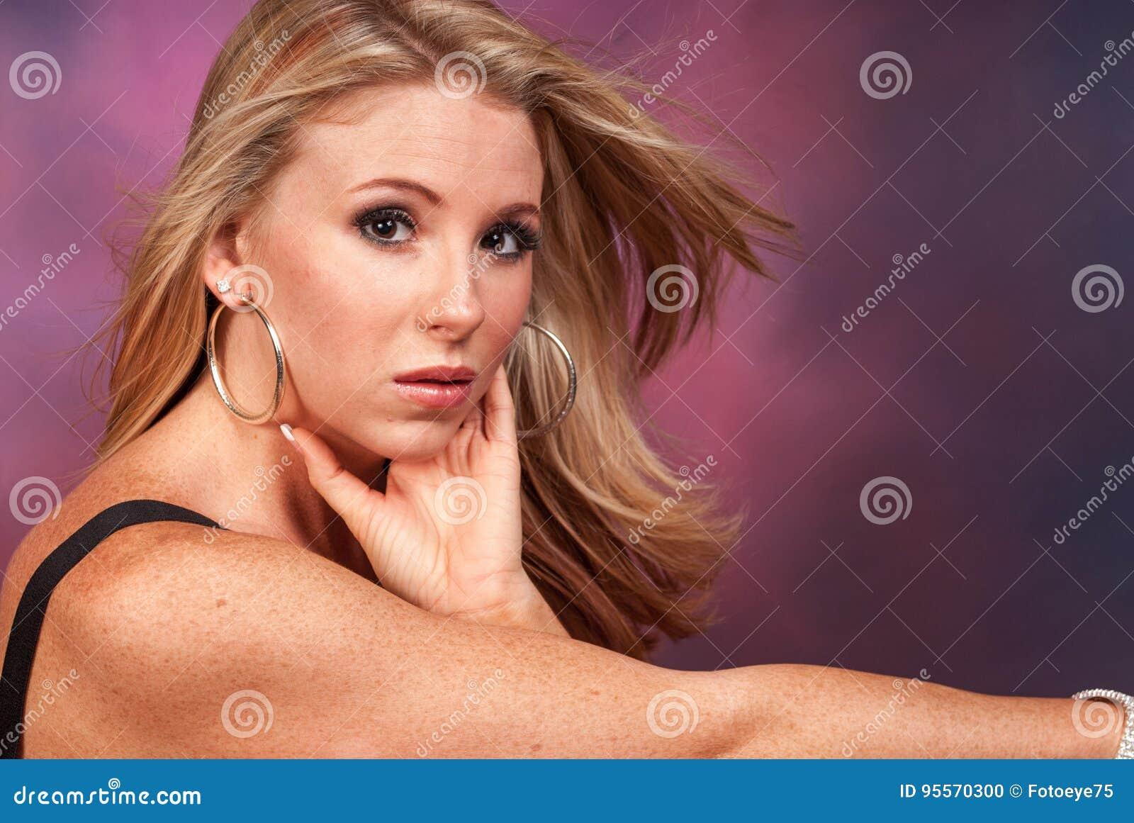 Short blonde woman big real boobs