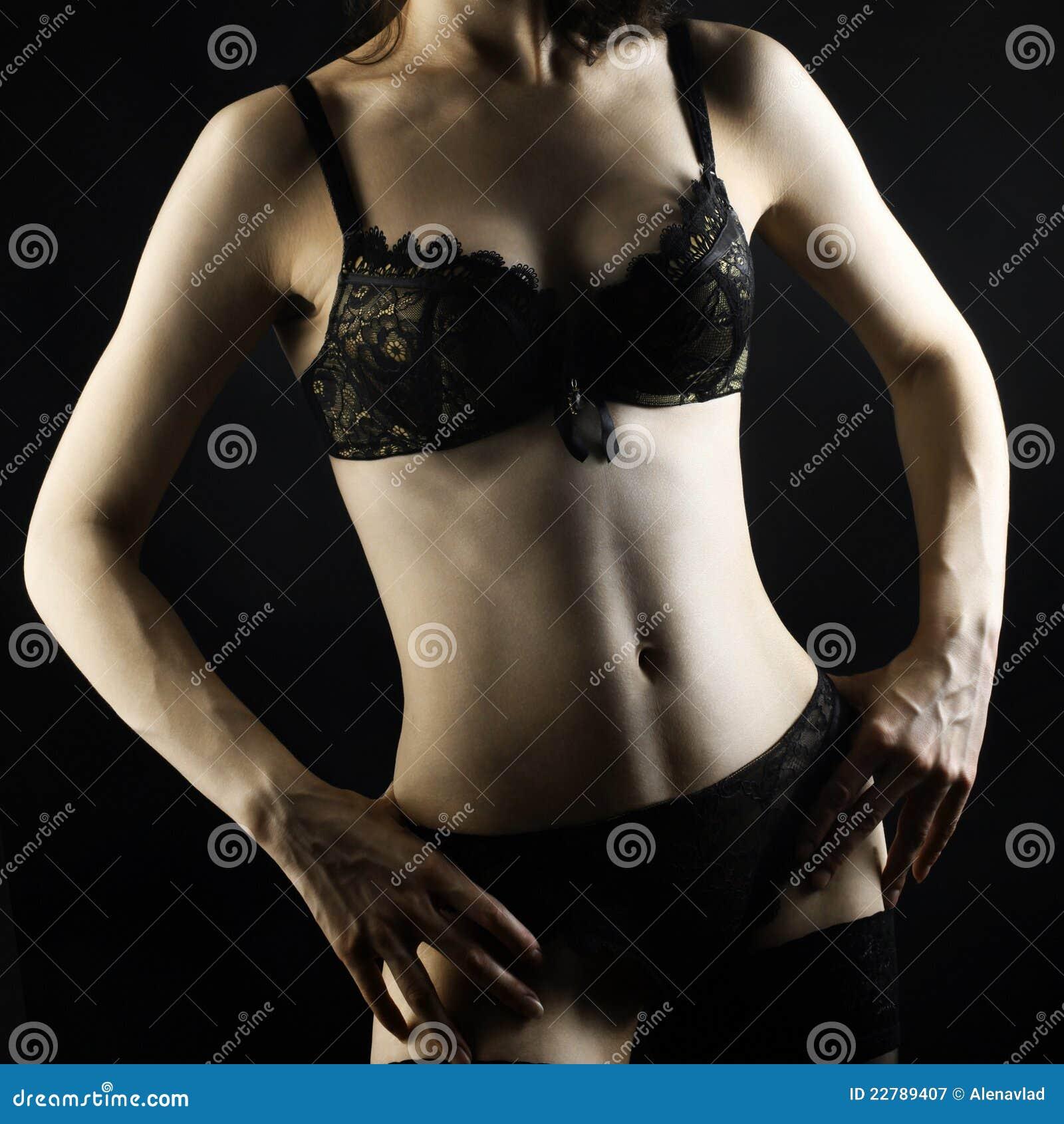 woman body in black lingerie