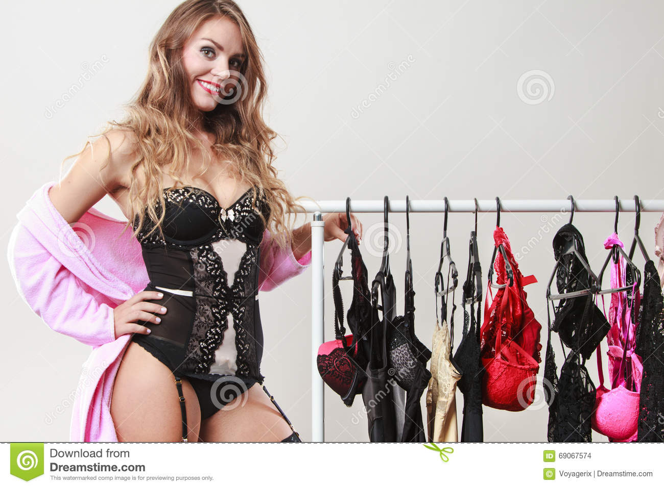 1b4141af8 Woman Buyer In Shop With Lingerie. Stock Photo - Image of shopper ...