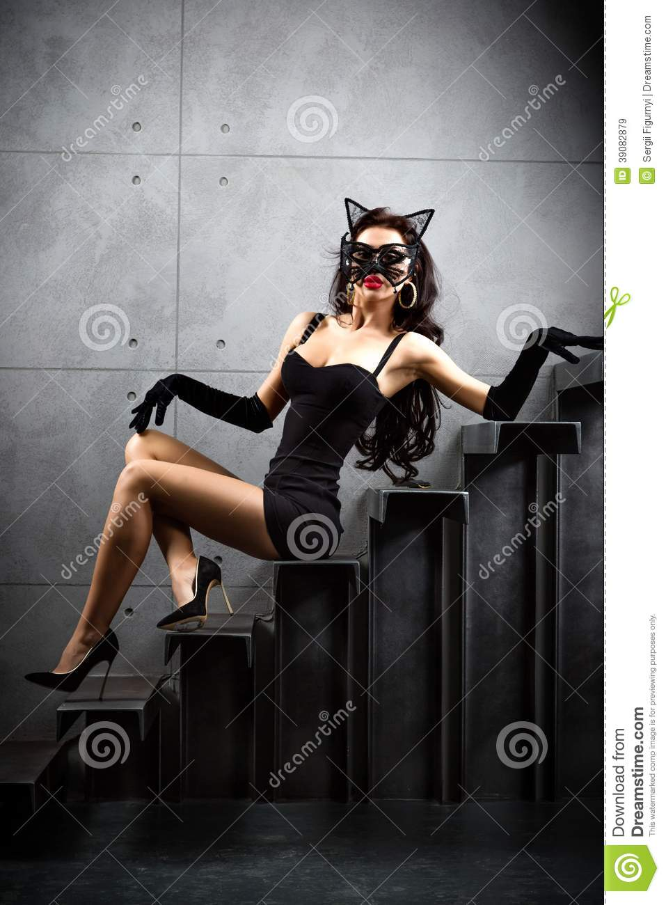 Woman In Catwoman Suit Lying On Stairs Stock Image Image