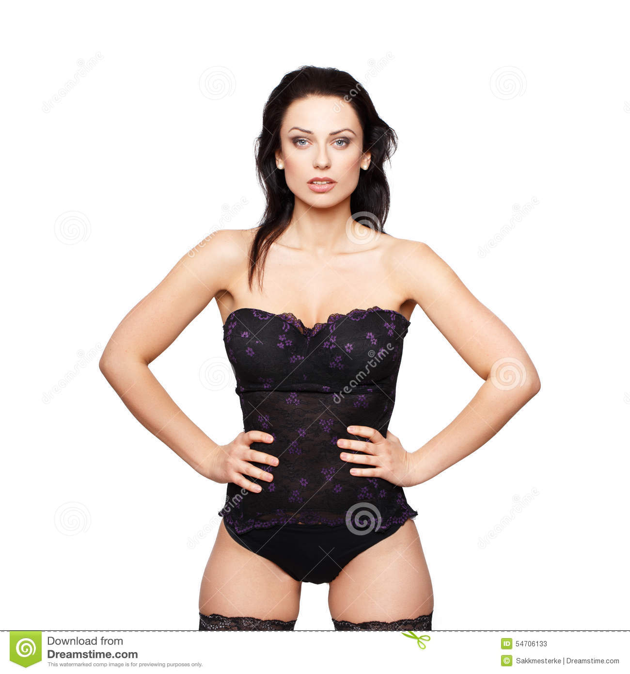 Sexy Woman In Corset Posing Isolated Stock Photo - Image: 54706133