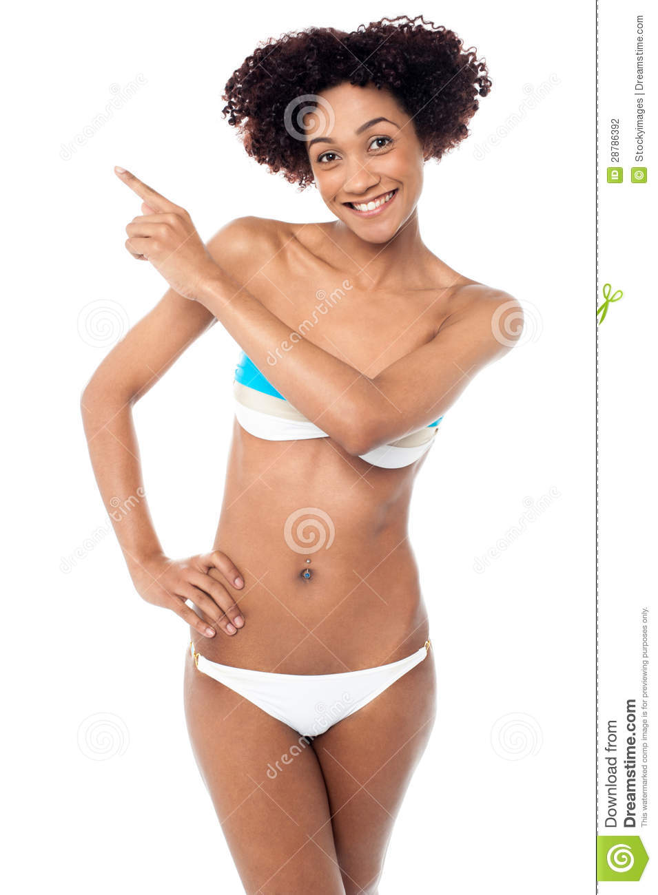 Sexy Woman With Curvy Body Pointing Sideways Stock ...