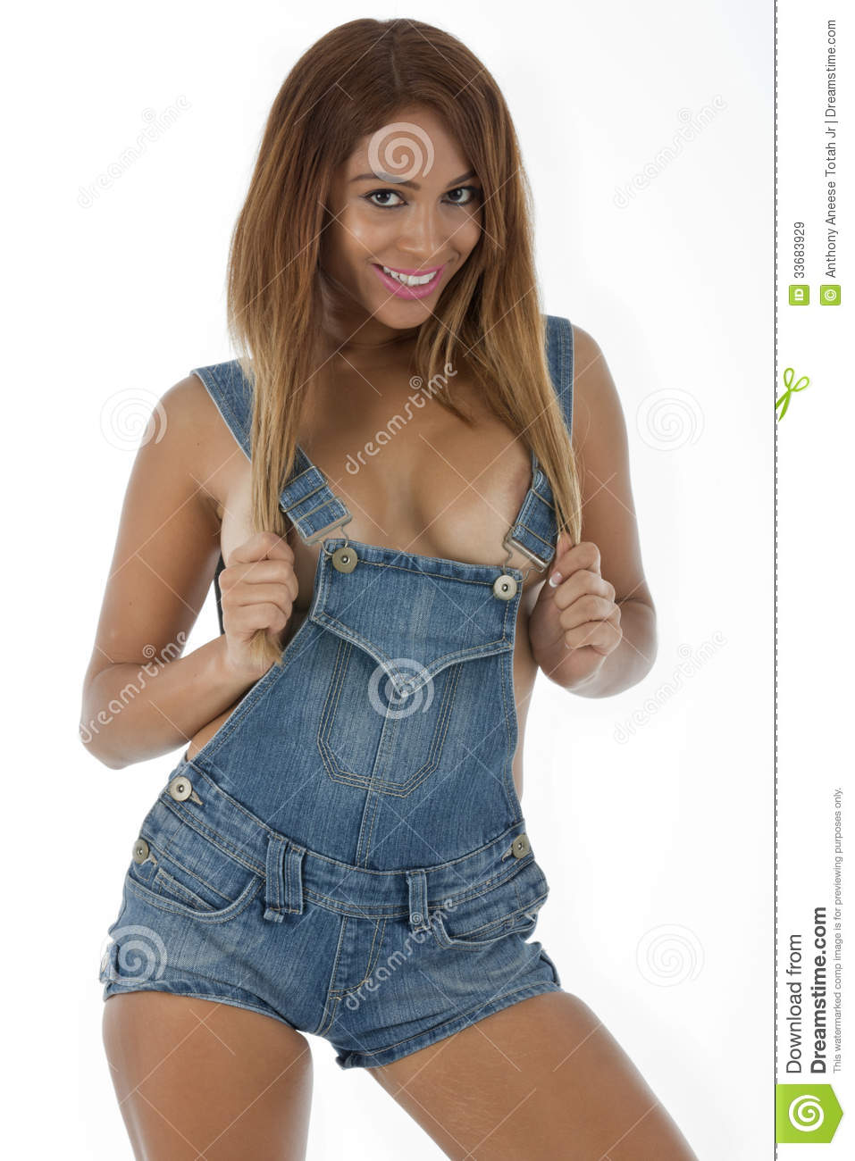 woman in only denim overalls stock image - image of legs, hips: 33683929