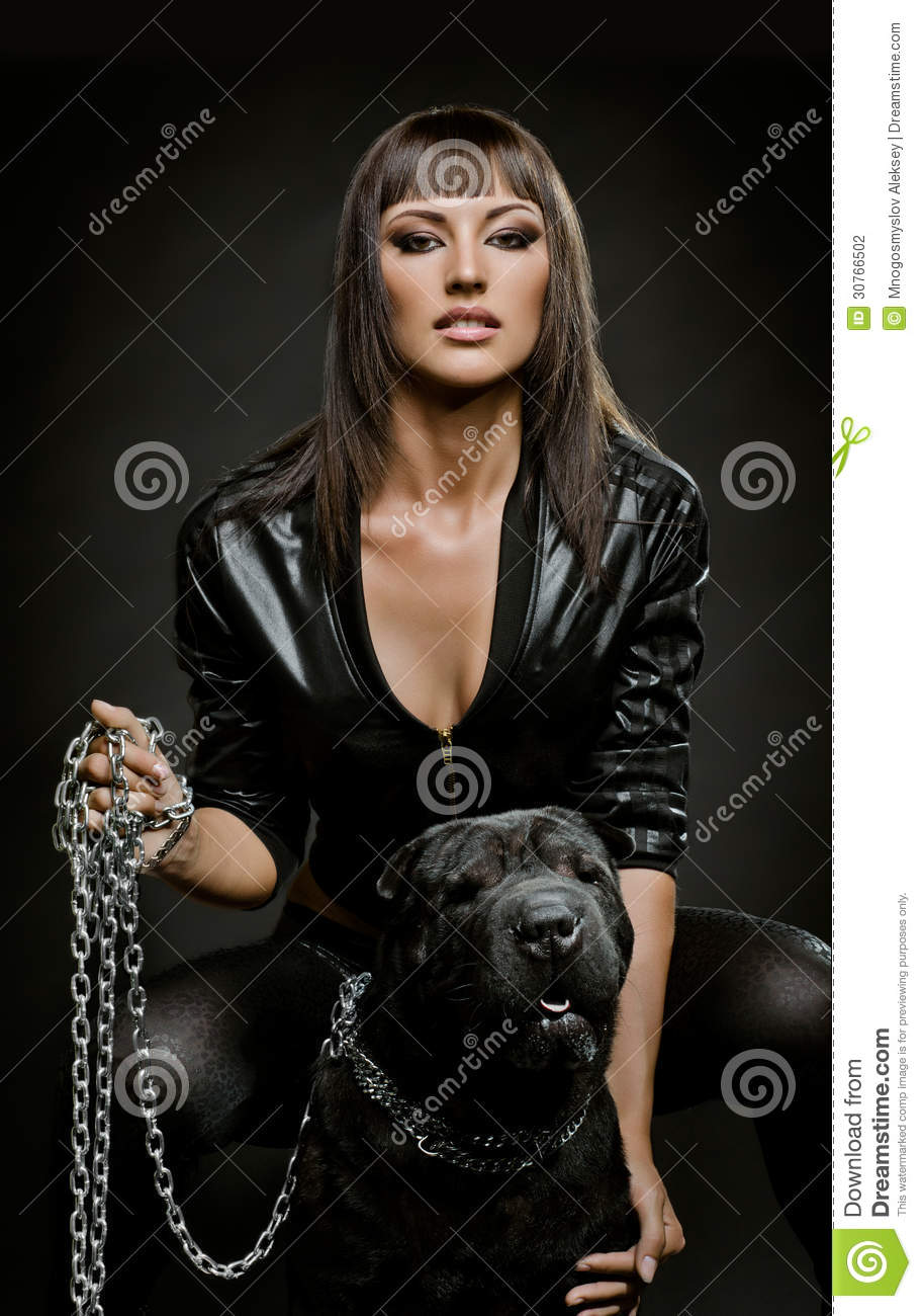 sexy woman with dog stock photography image 30766502. Black Bedroom Furniture Sets. Home Design Ideas