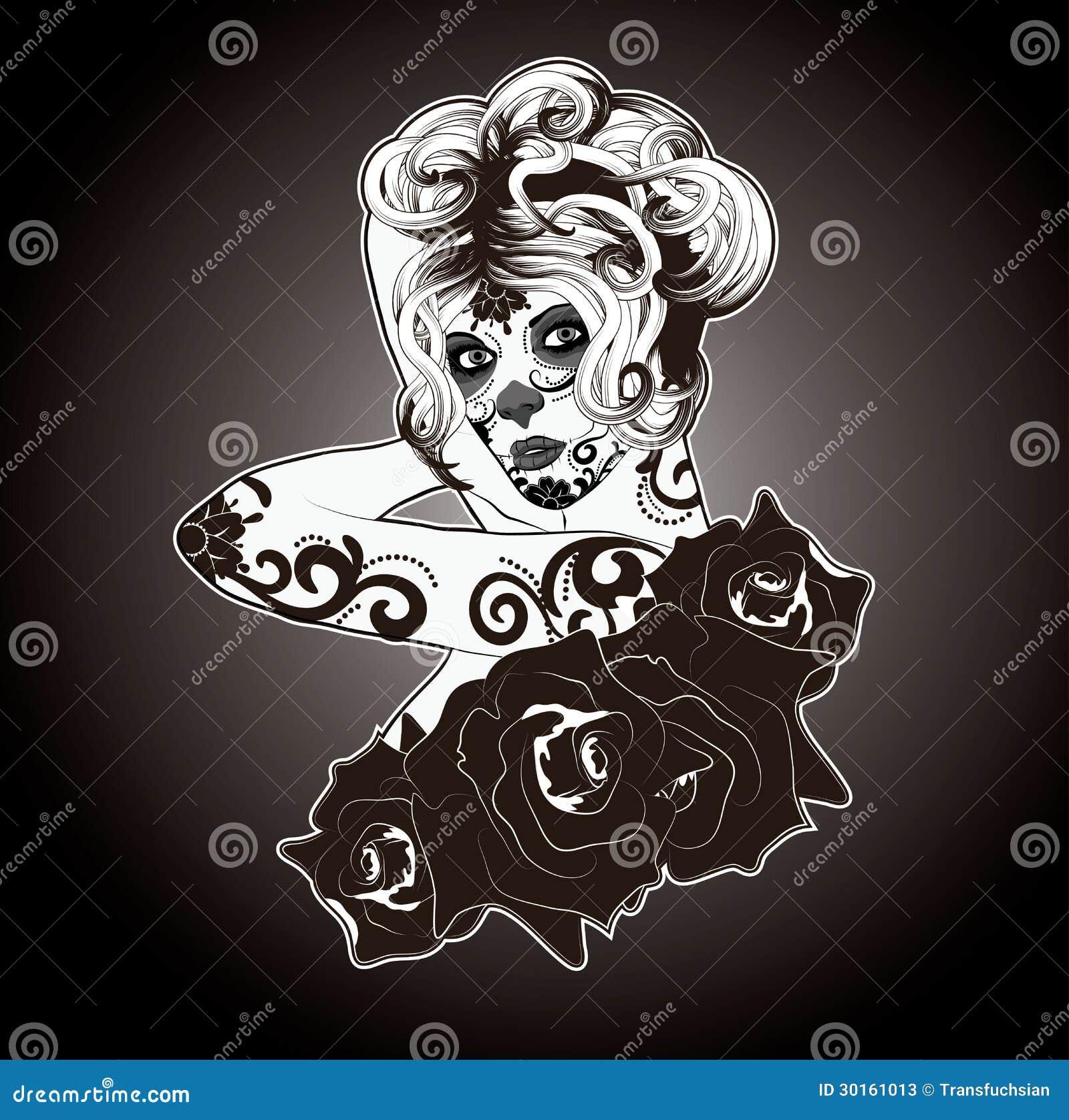 Black and White Sugar Skull Woman