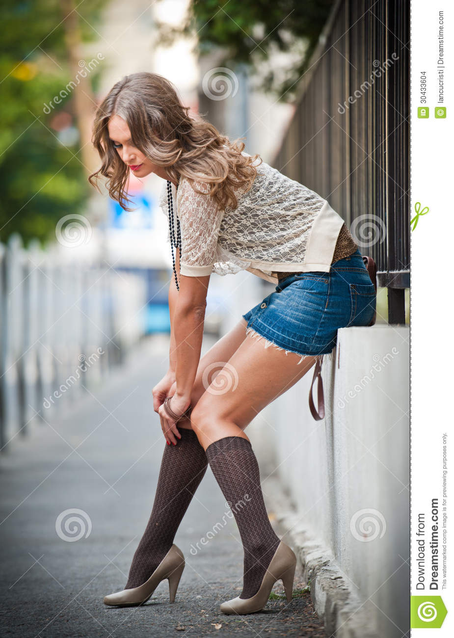 Young European Girl in Urban Setting.sexy woman dressed provocatively ...