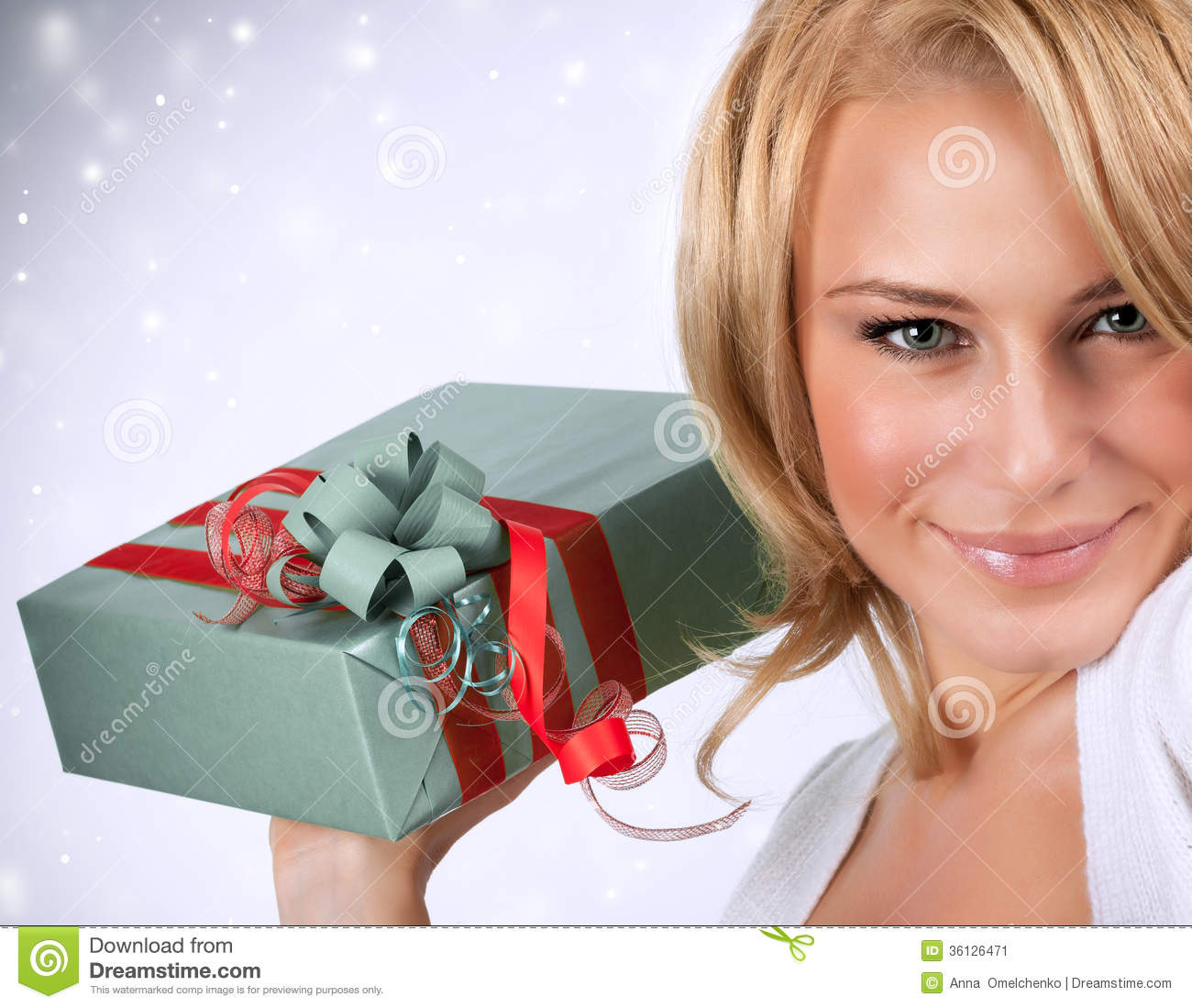 Sexy Woman With Gift Box Stock Image Image 36126471