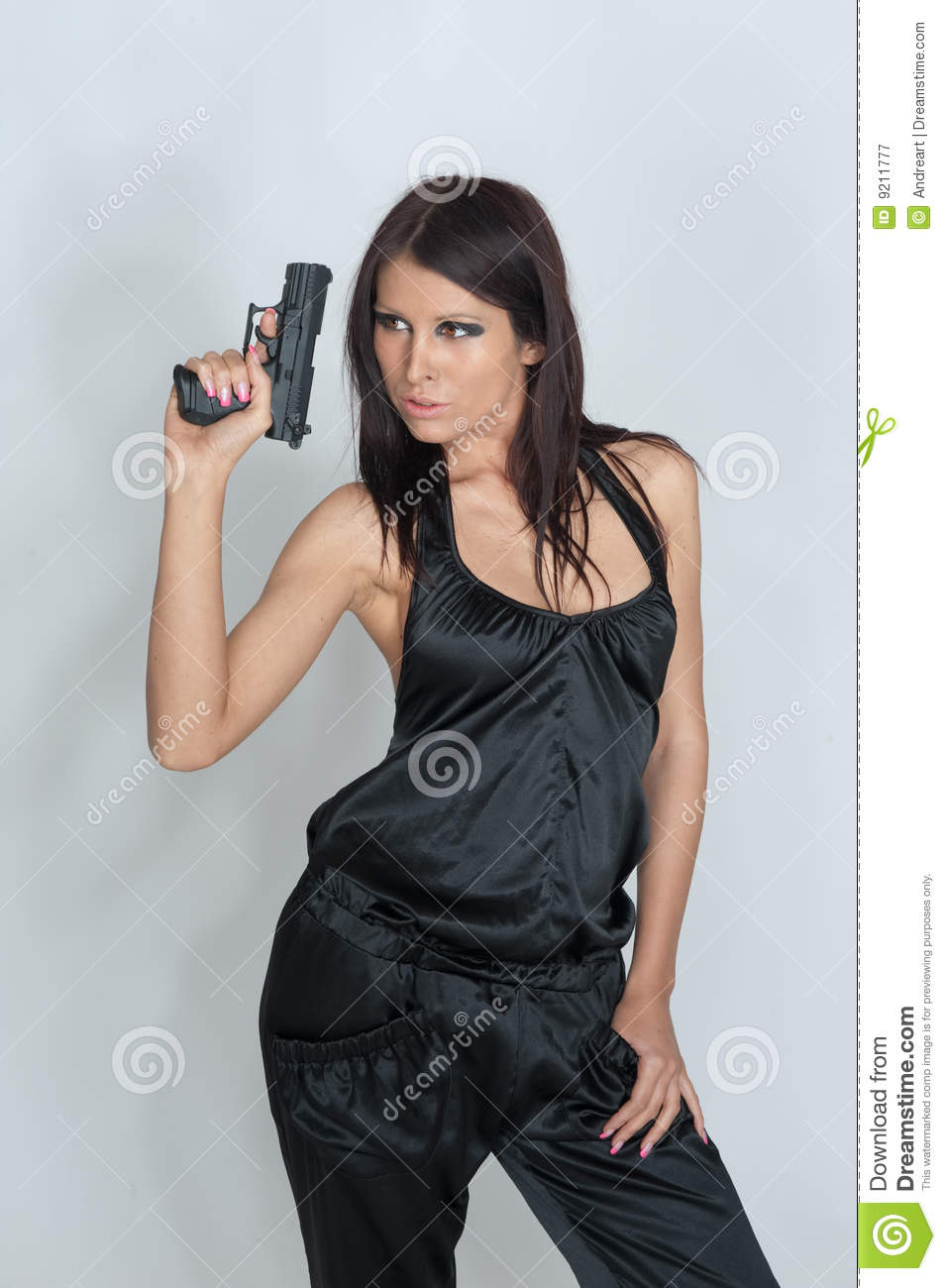 Woman holding gun stock image. Image of pistol, pointing ...
