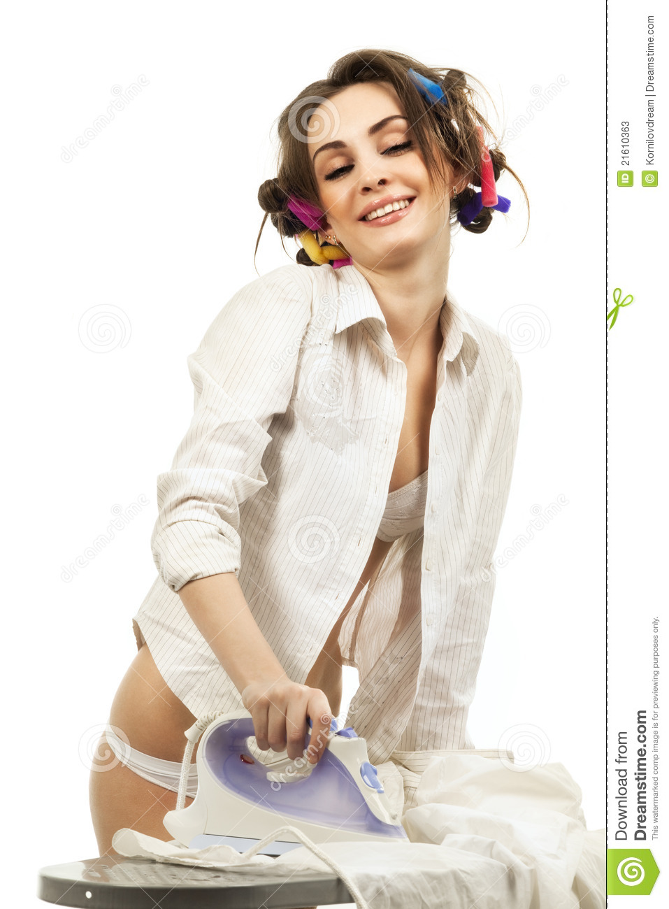 Sexy Woman Ironing Clothes Stock Photos Image 21610363