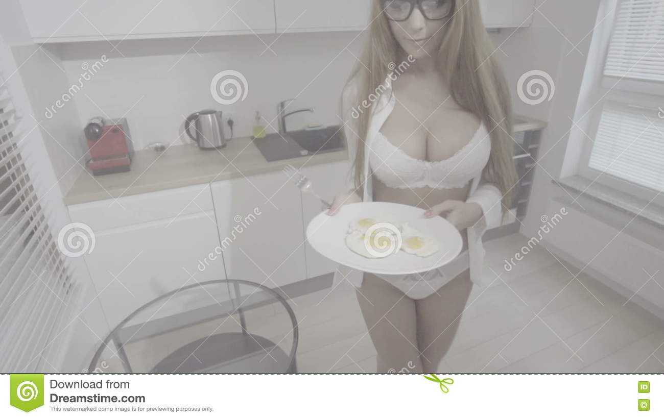 Sexy cooking in lingerie with