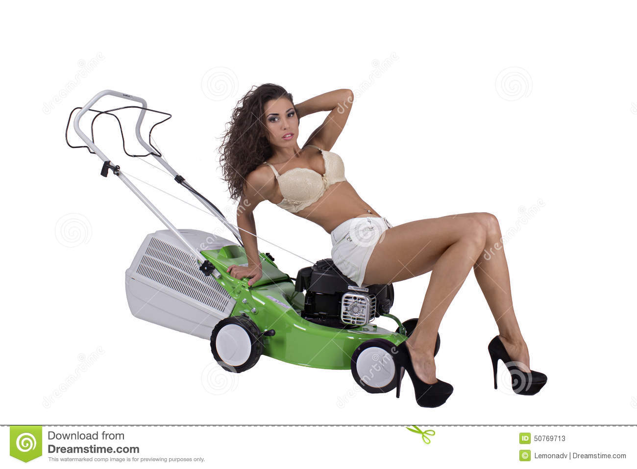 Naked woman on riding lawnmower opinion, actual